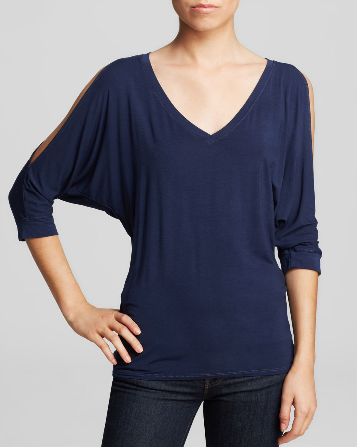 Michael stars tee cold shoulder dolman in blue for Michael stars tee shirts