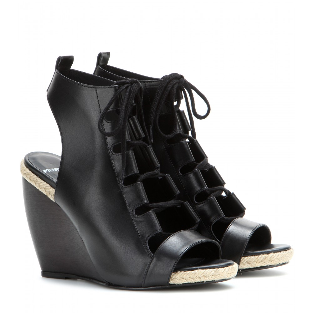ab59aa9d77d Lyst - Pierre Hardy Lace-Up Leather Wedge Sandals in Black