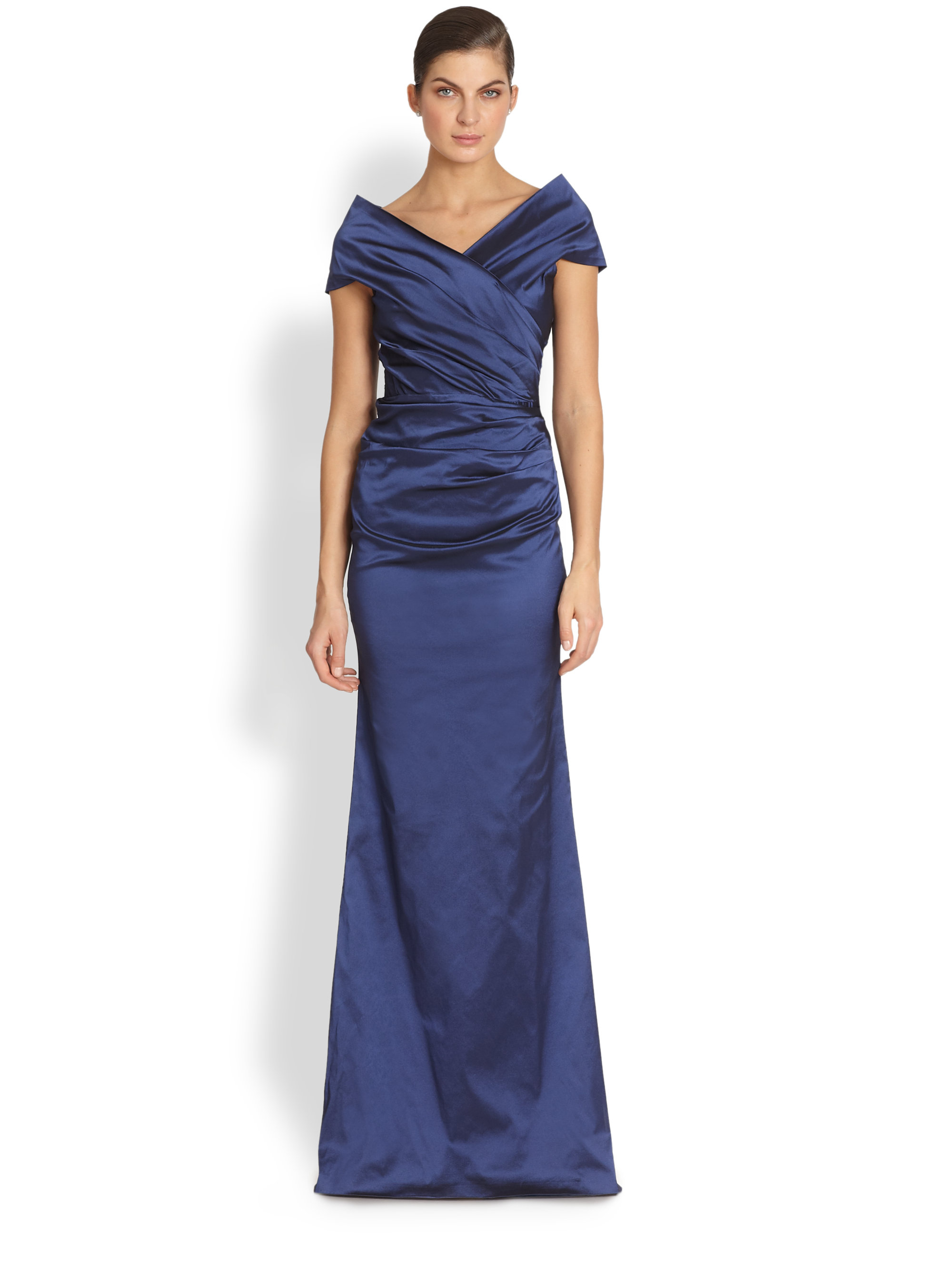 Lyst Teri Jon Taffeta Gown In Blue