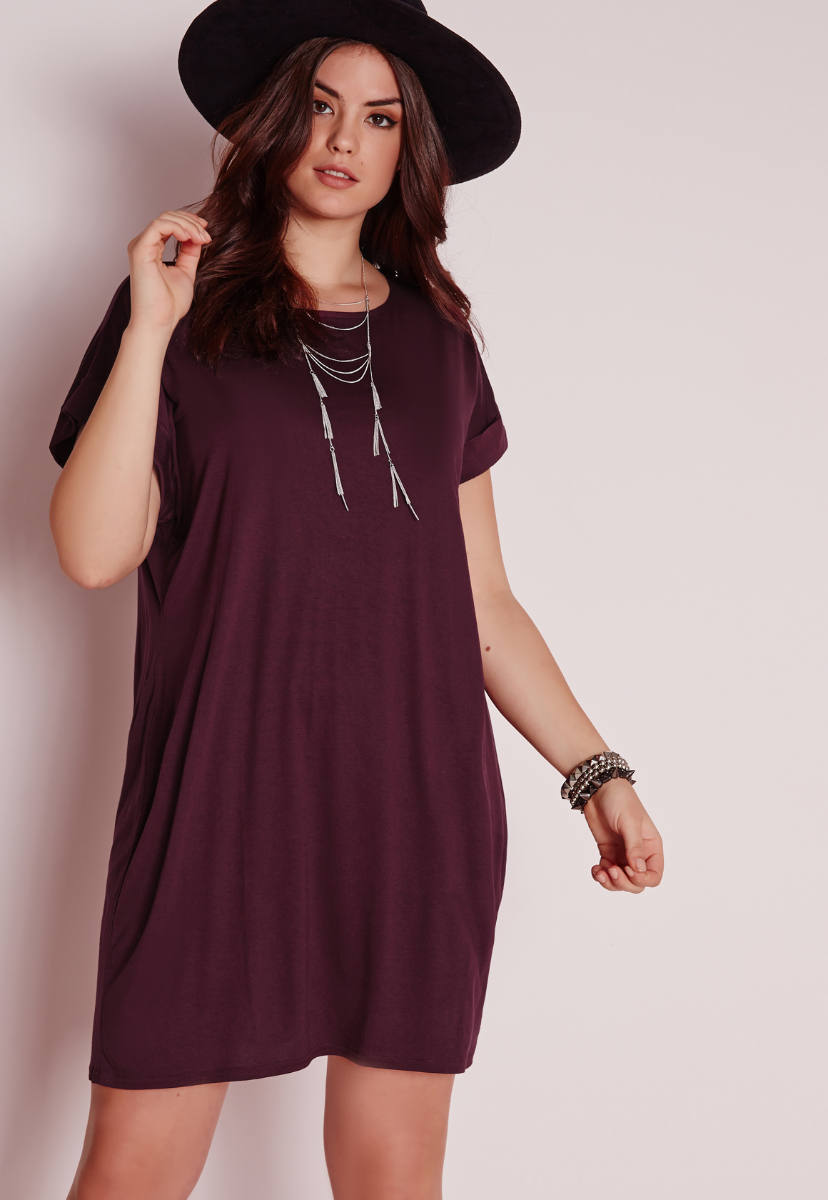 Lyst - Missguided Plus Size T-shirt Dress Purple in Purple