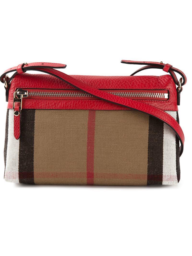 burberry haymarket check shoulder bag in red lyst