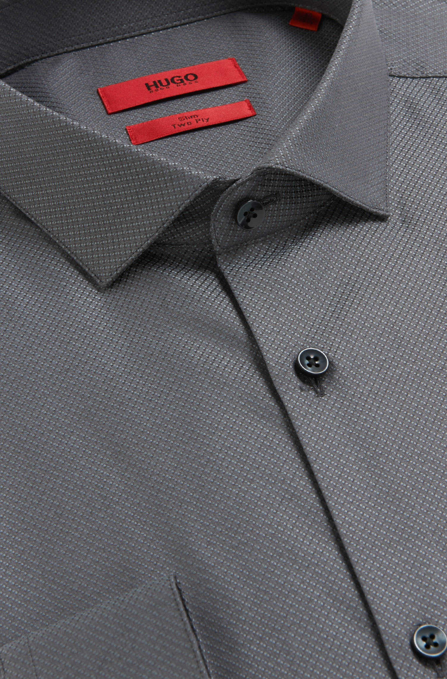 Hugo 39 erondo 39 slim fit 2 ply cotton dress shirt in gray for 2 ply cotton dress shirt