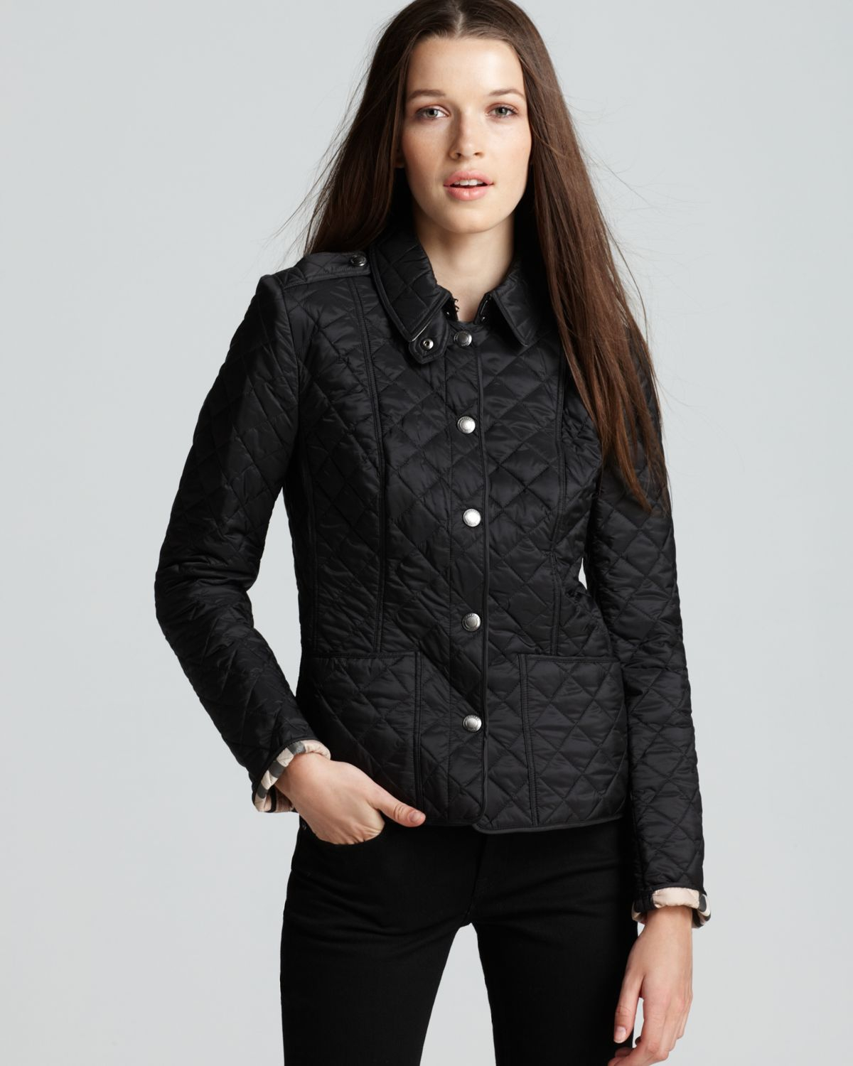 Lyst Burberry Kencott Quilted Jacket In Black