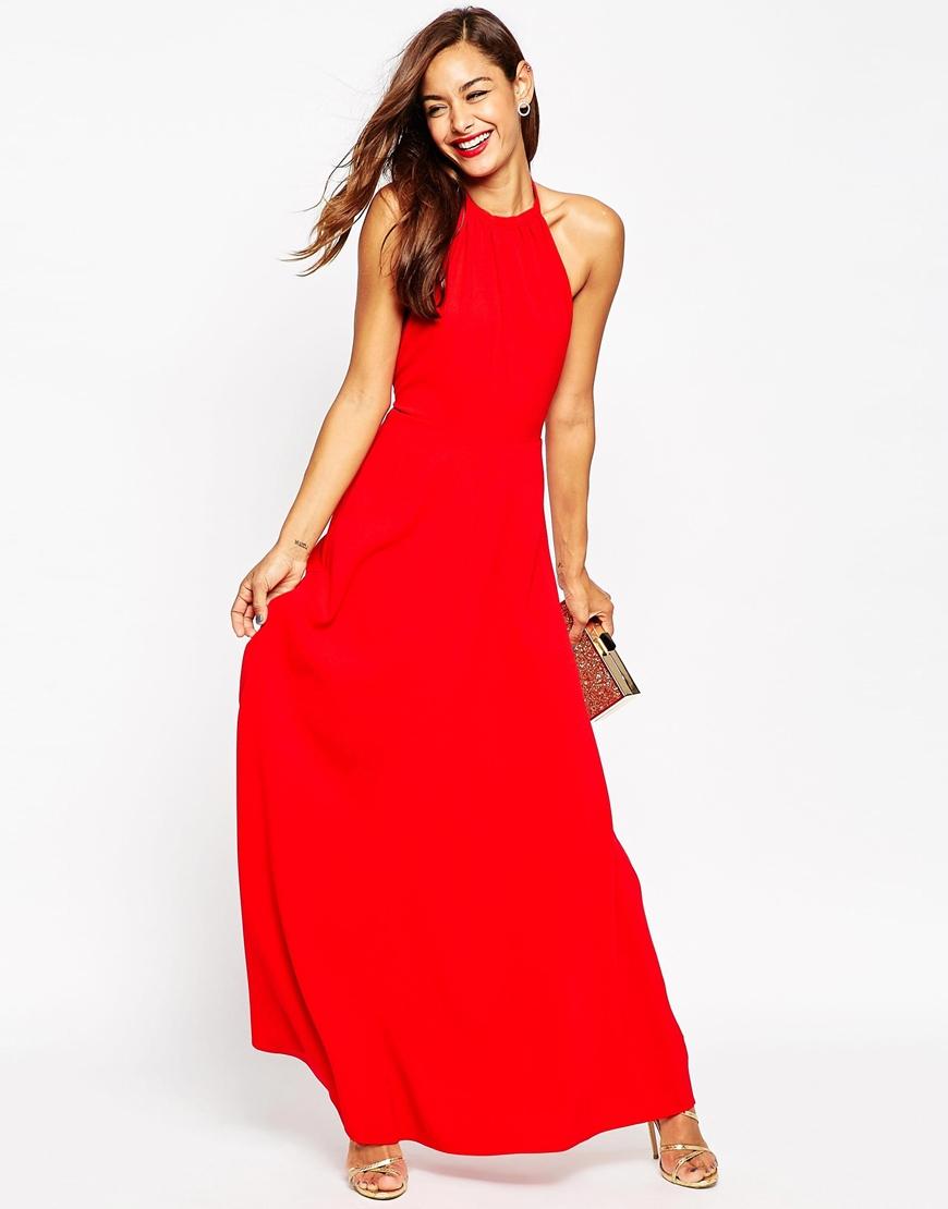 04e3af8c681 ASOS Halter Neck Maxi Dress in Red - Lyst
