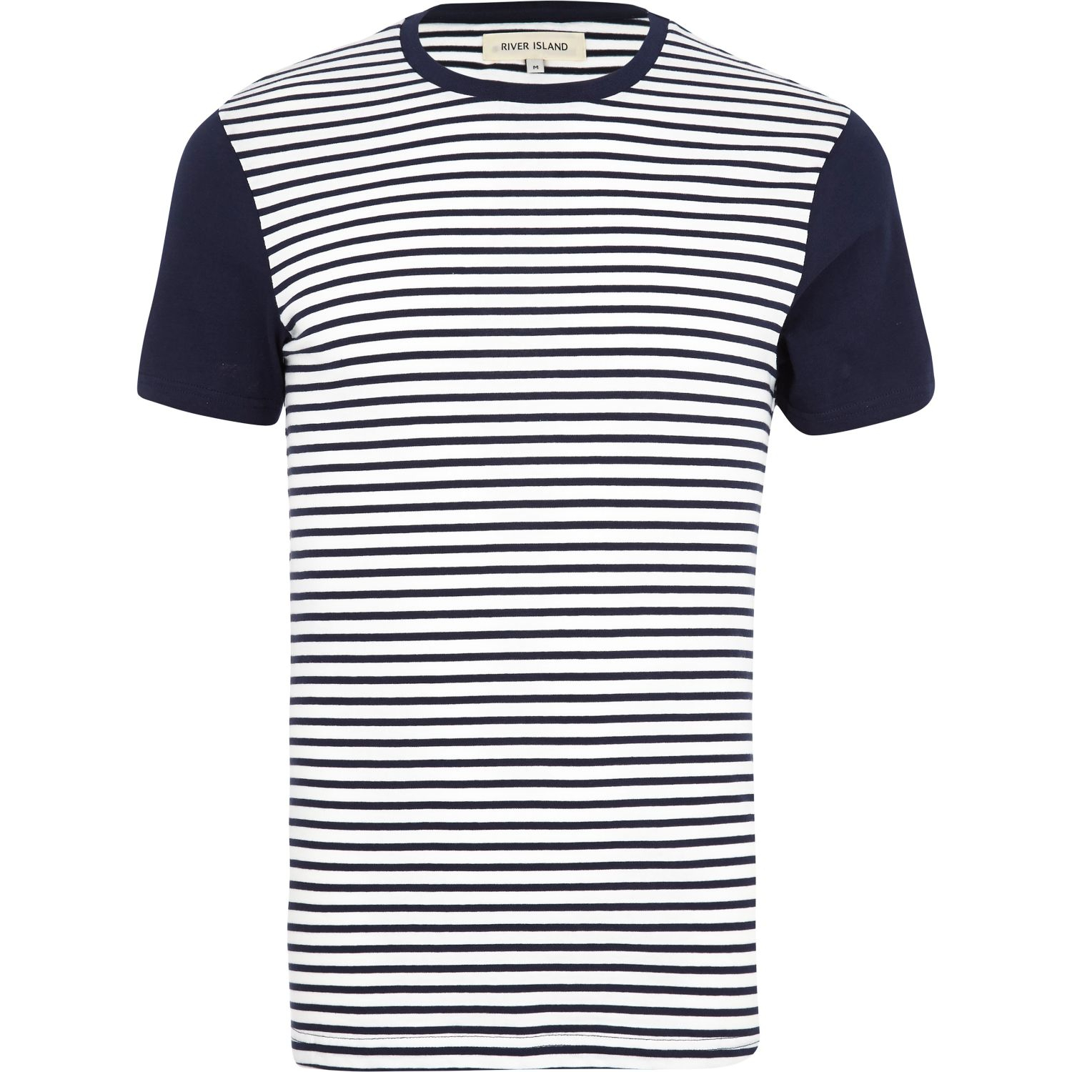 Lyst river island navy color block stripe tshirt in blue for Navy blue color shirt