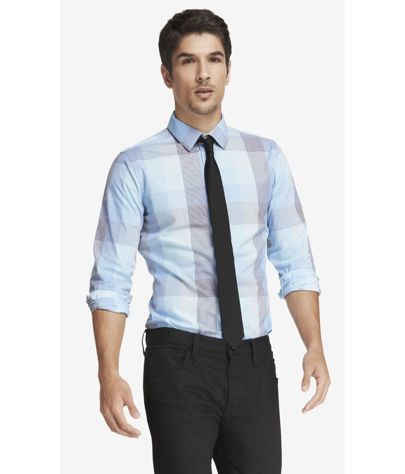Express extra slim plaid shirt in blue for men light blue for Extra slim dress shirt