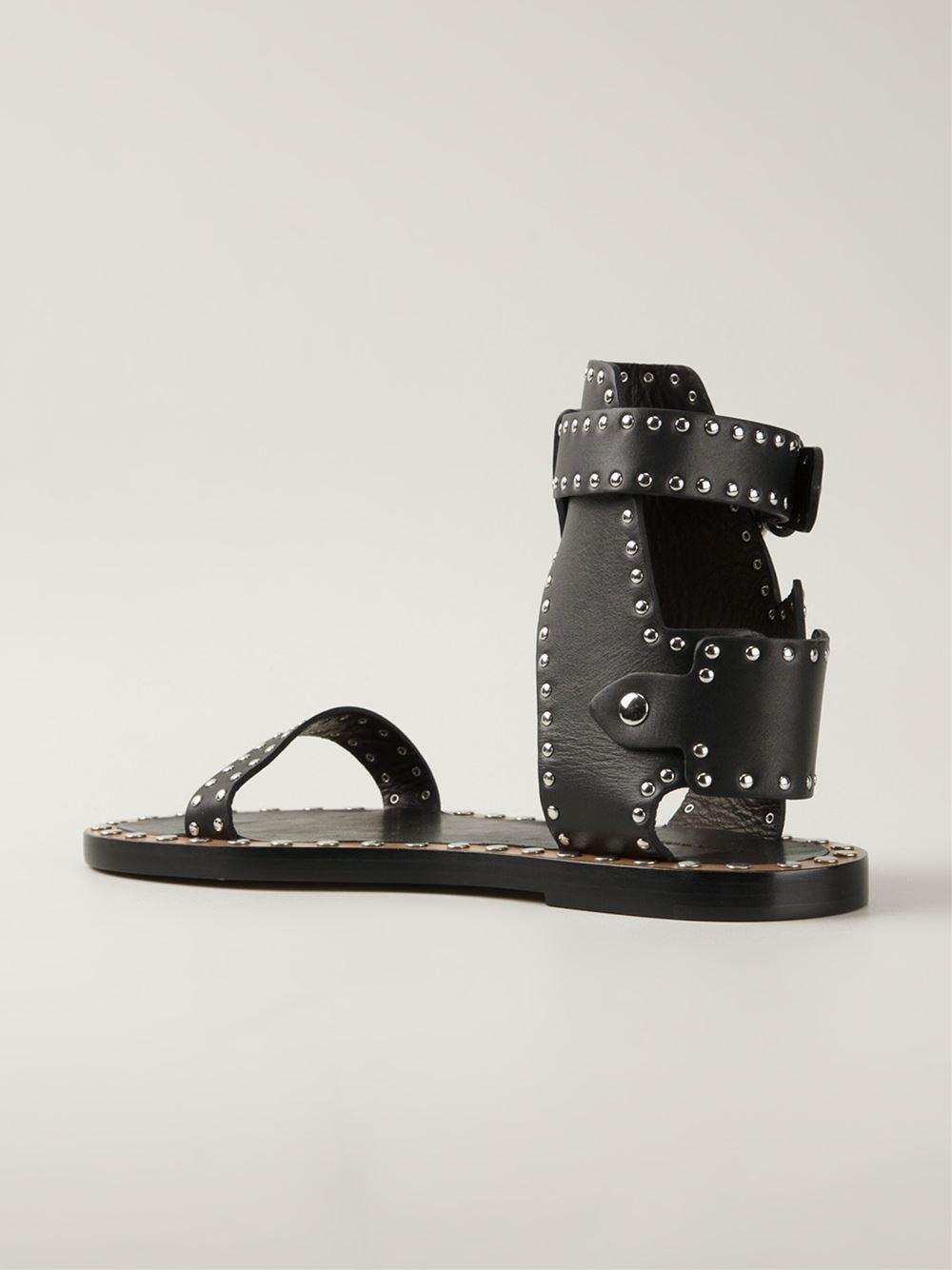 Isabel Marant Johanna Studded Sandals In Black Lyst