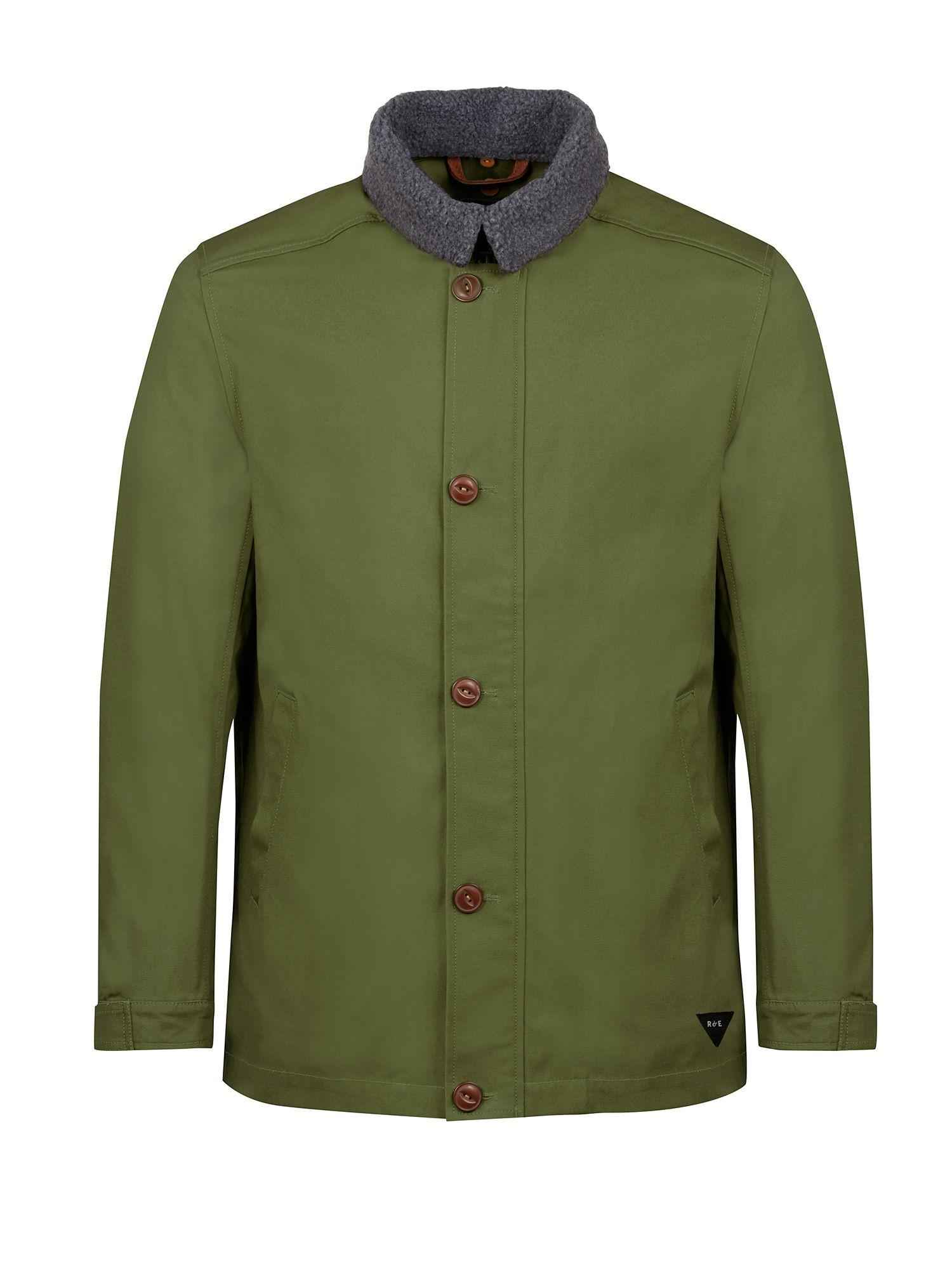 Realm & empire Car Coat With Detachable Fleece Collar in Green for