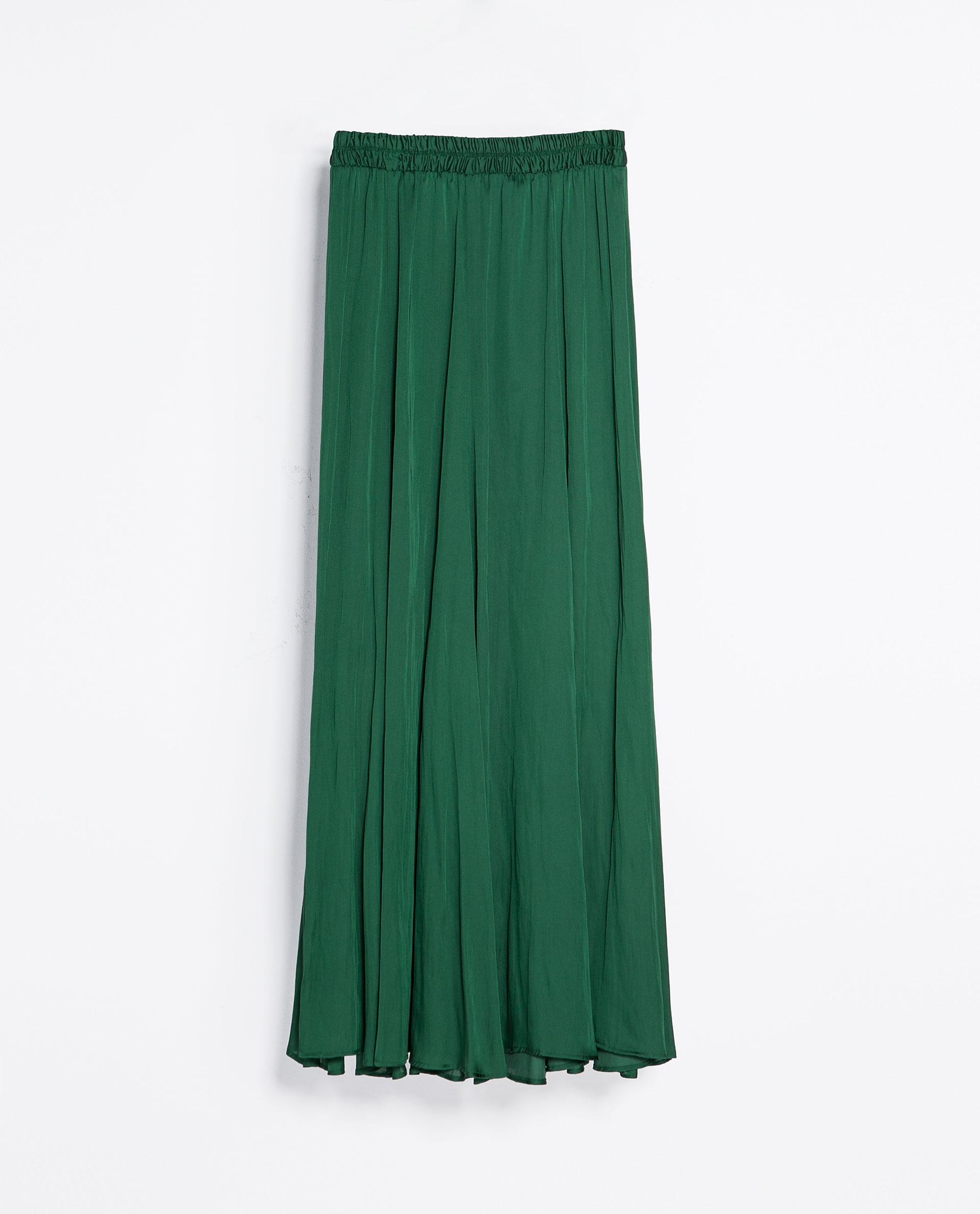 zara flowy skirt in green lyst