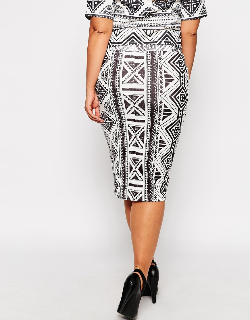 asos co ord pencil skirt in geo tribal print in white lyst