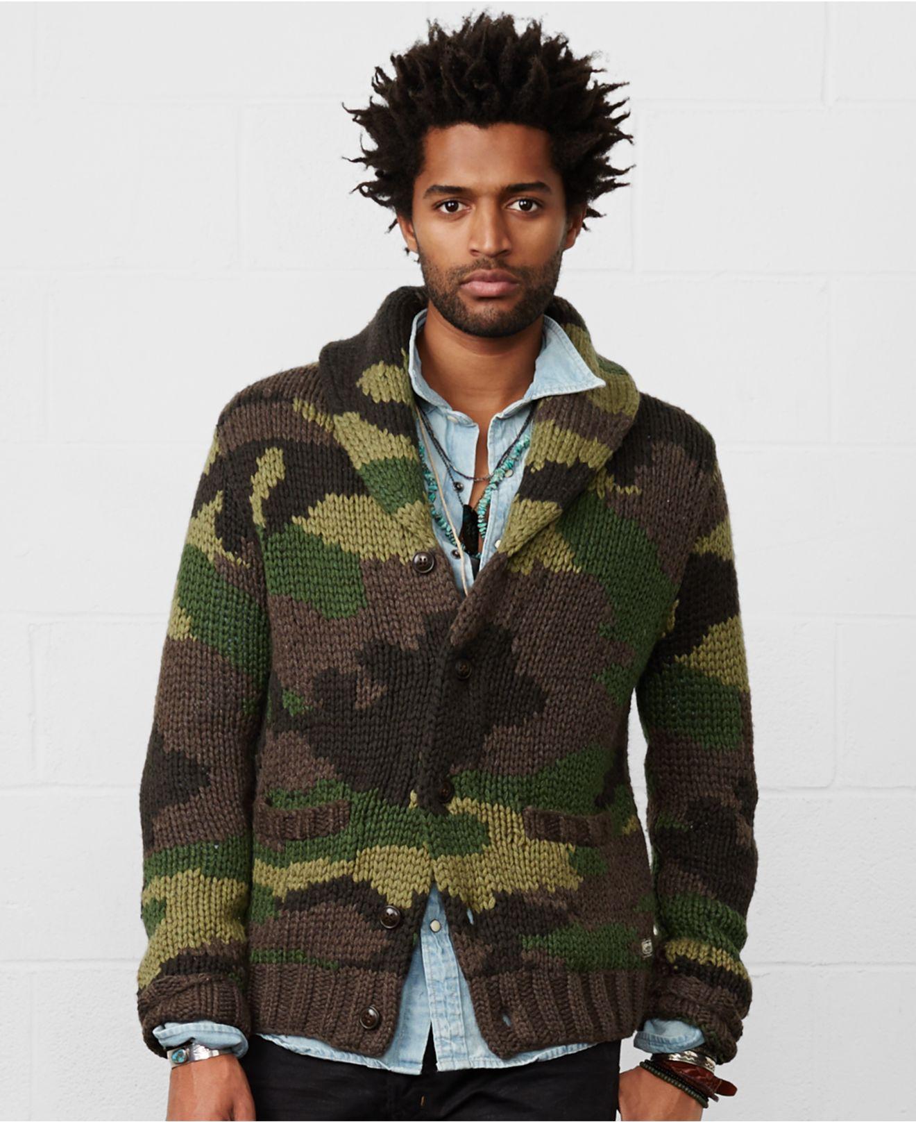 Lyst Denim Supply Ralph Lauren Camo Shawl Collar Cardigan In
