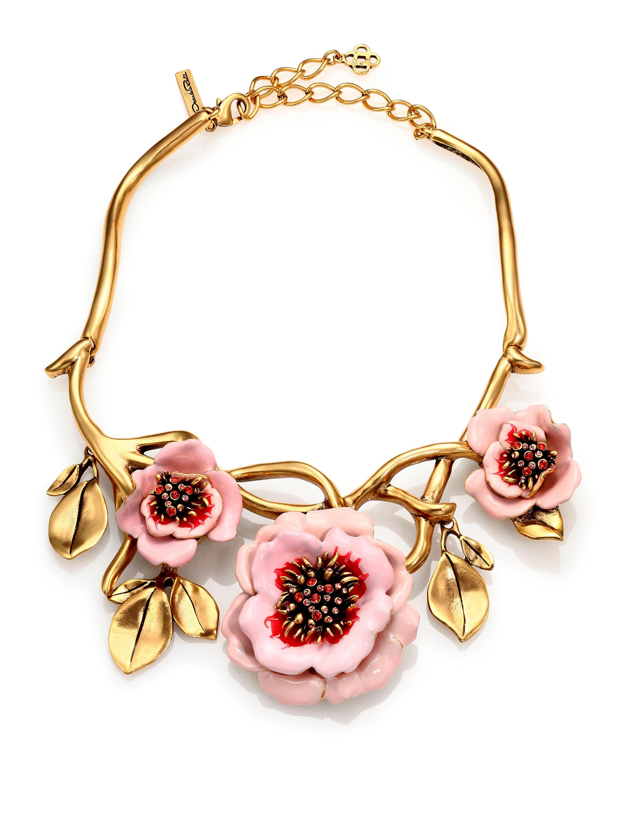 Lyst Oscar De La Renta Painted Flower Necklace In Pink