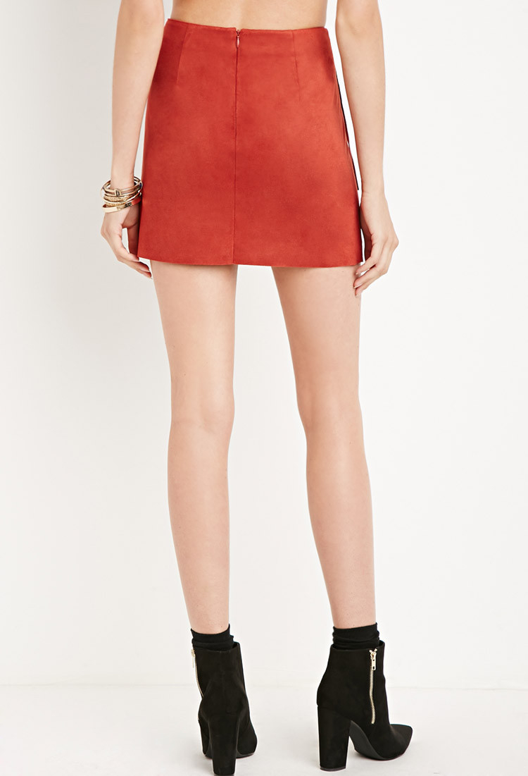 7e75fdbbe Forever 21 Fringed Faux Suede Skirt in Red - Lyst