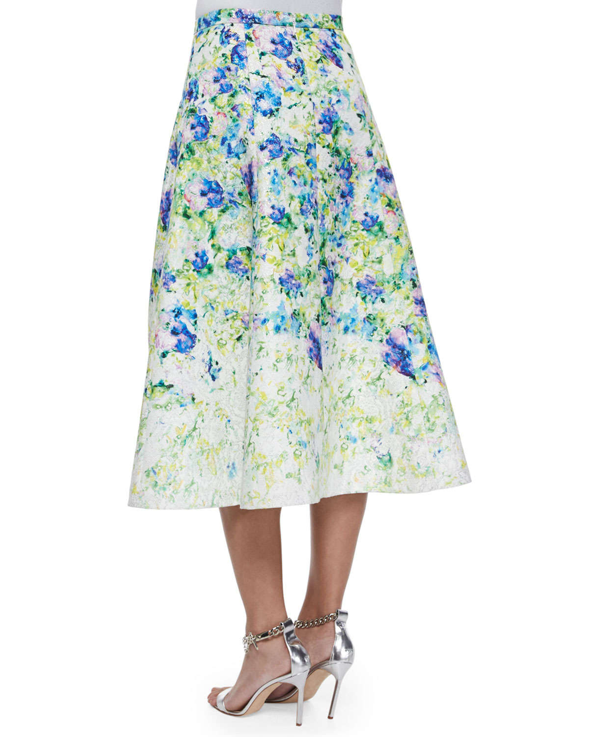 Phoebe Floral-Print A-Line Midi Skirt | Lyst