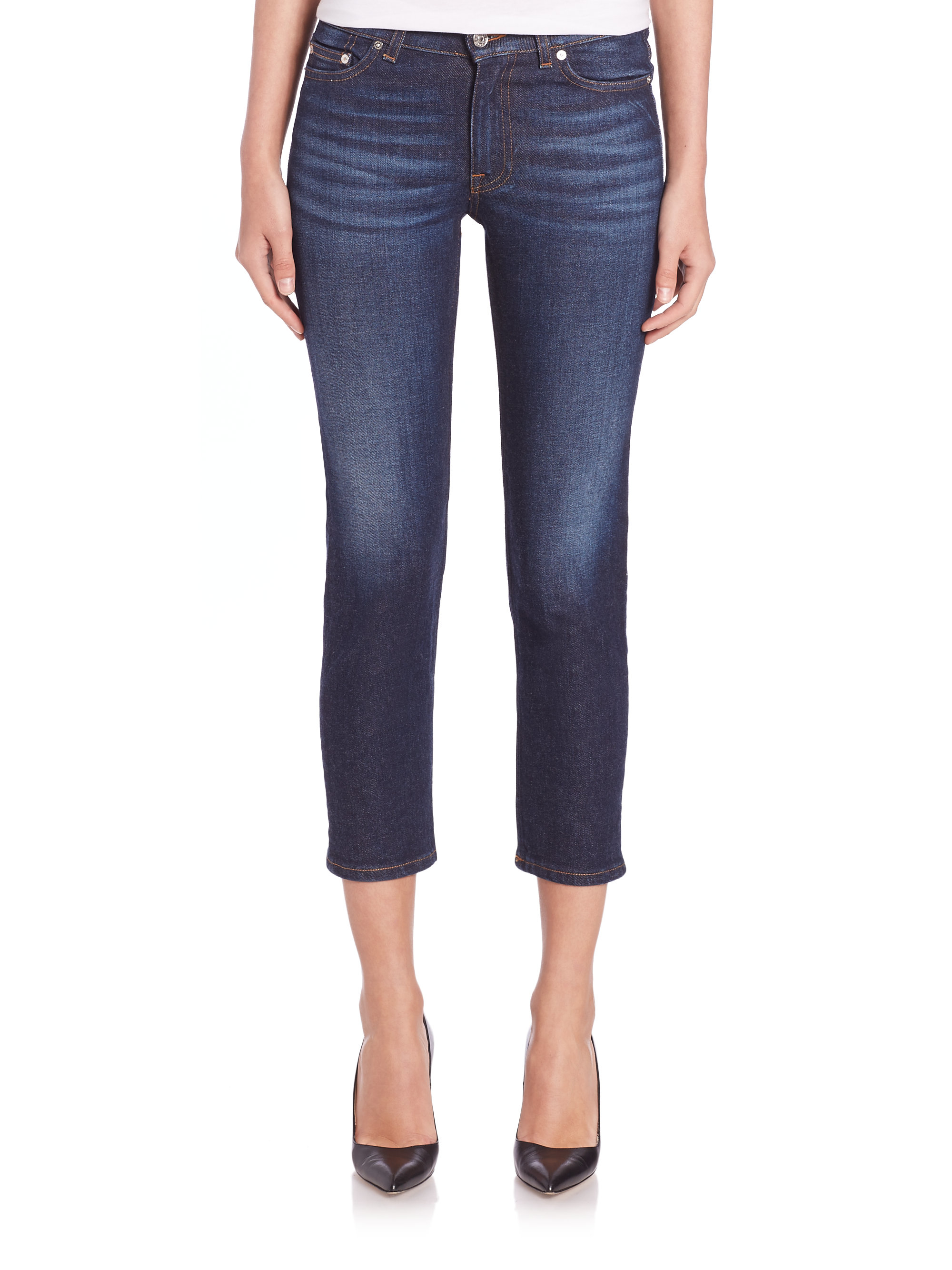 acne studios row cropped skinny jeans in blue lyst. Black Bedroom Furniture Sets. Home Design Ideas