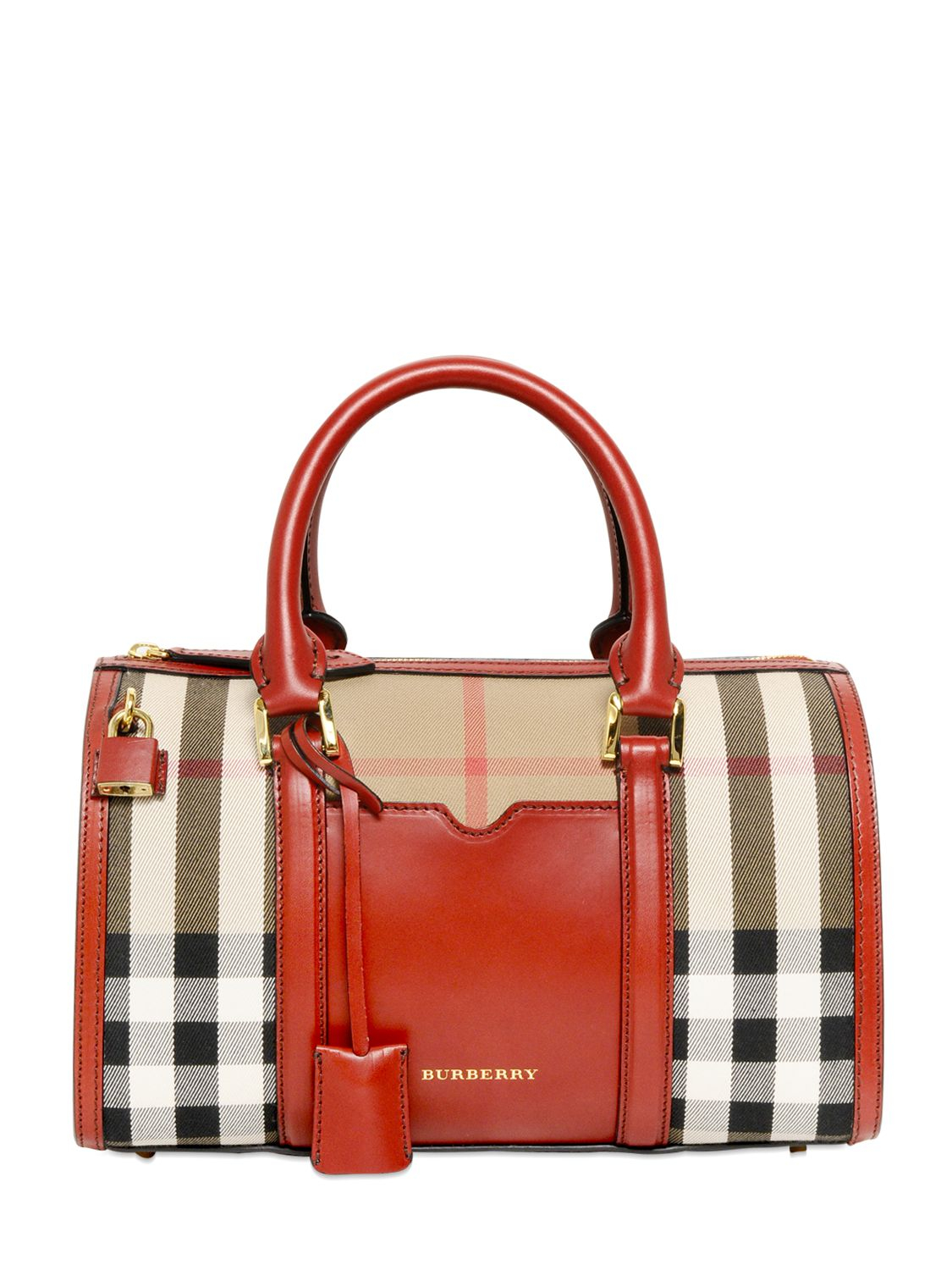 Lyst - Burberry Medium Alchester Bridle House Check Bag in Red fcc4549655fcc