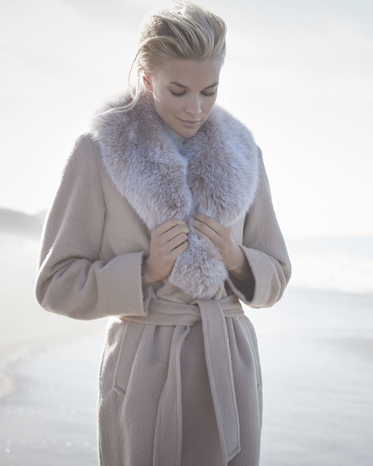 Sofia cashmere Long Alpaca-blend Wrap Coat W/ Fox Fur Collar in ...