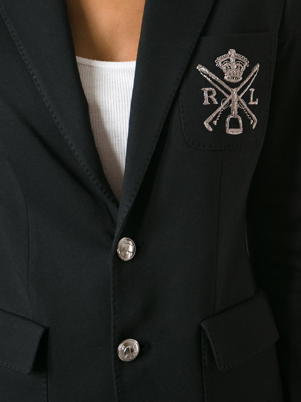 Lyst Ralph Lauren Blue Label Logo Embroidered Blazer In