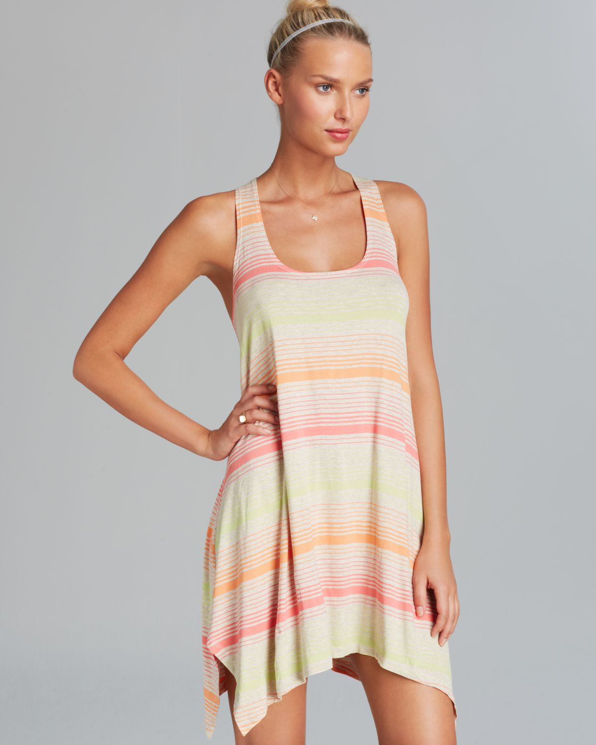Lucky Brand Neutral Territory Tank Dress Swim Cover Up In