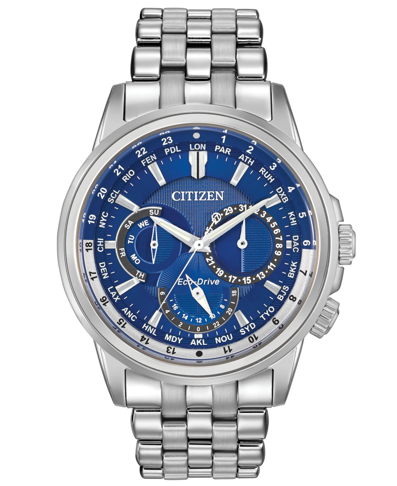 Citizen Men S Eco Drive Calendrier Stainless Steel