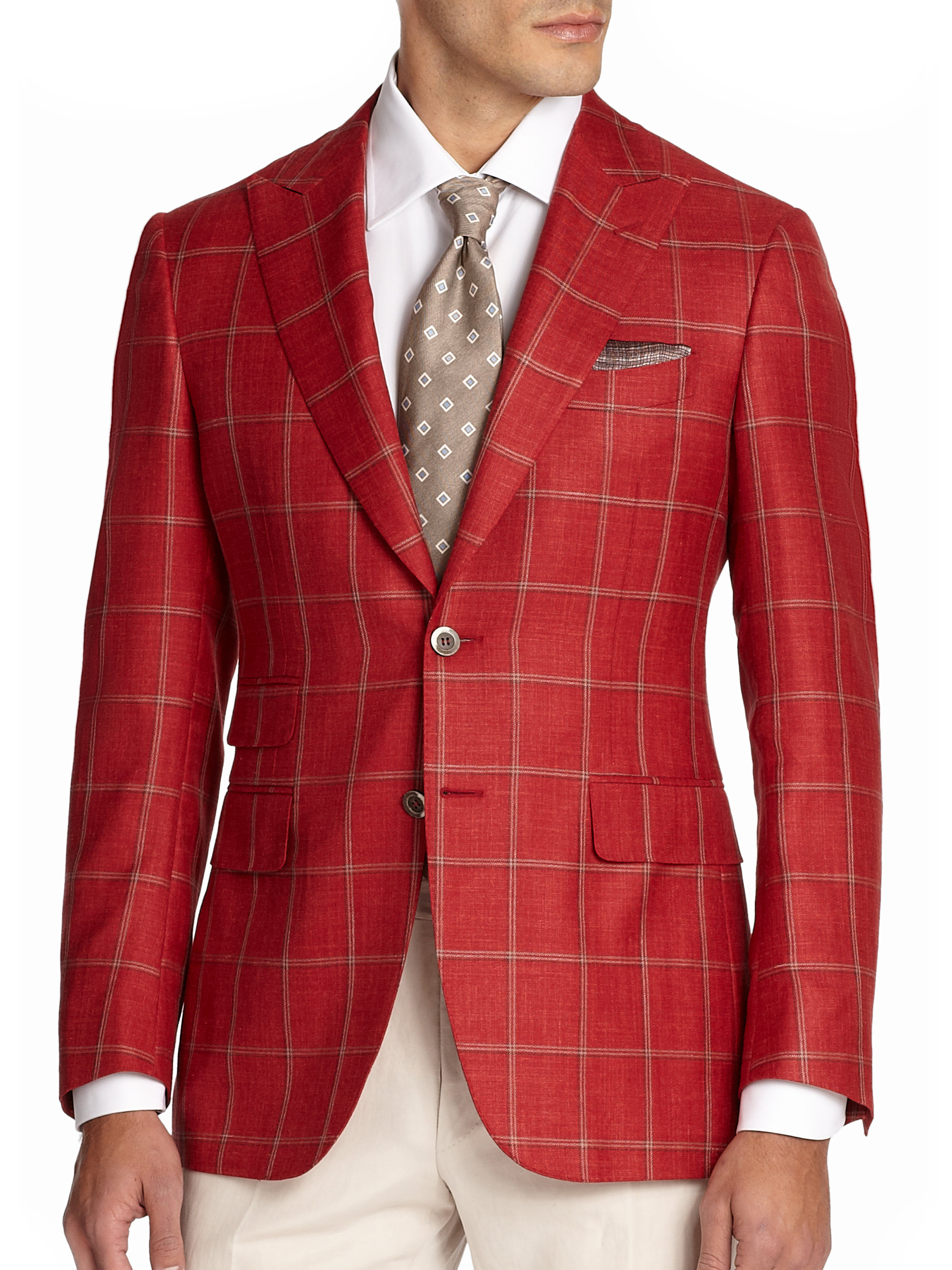 Canali Windowpane Sportcoat in Red for Men | Lyst