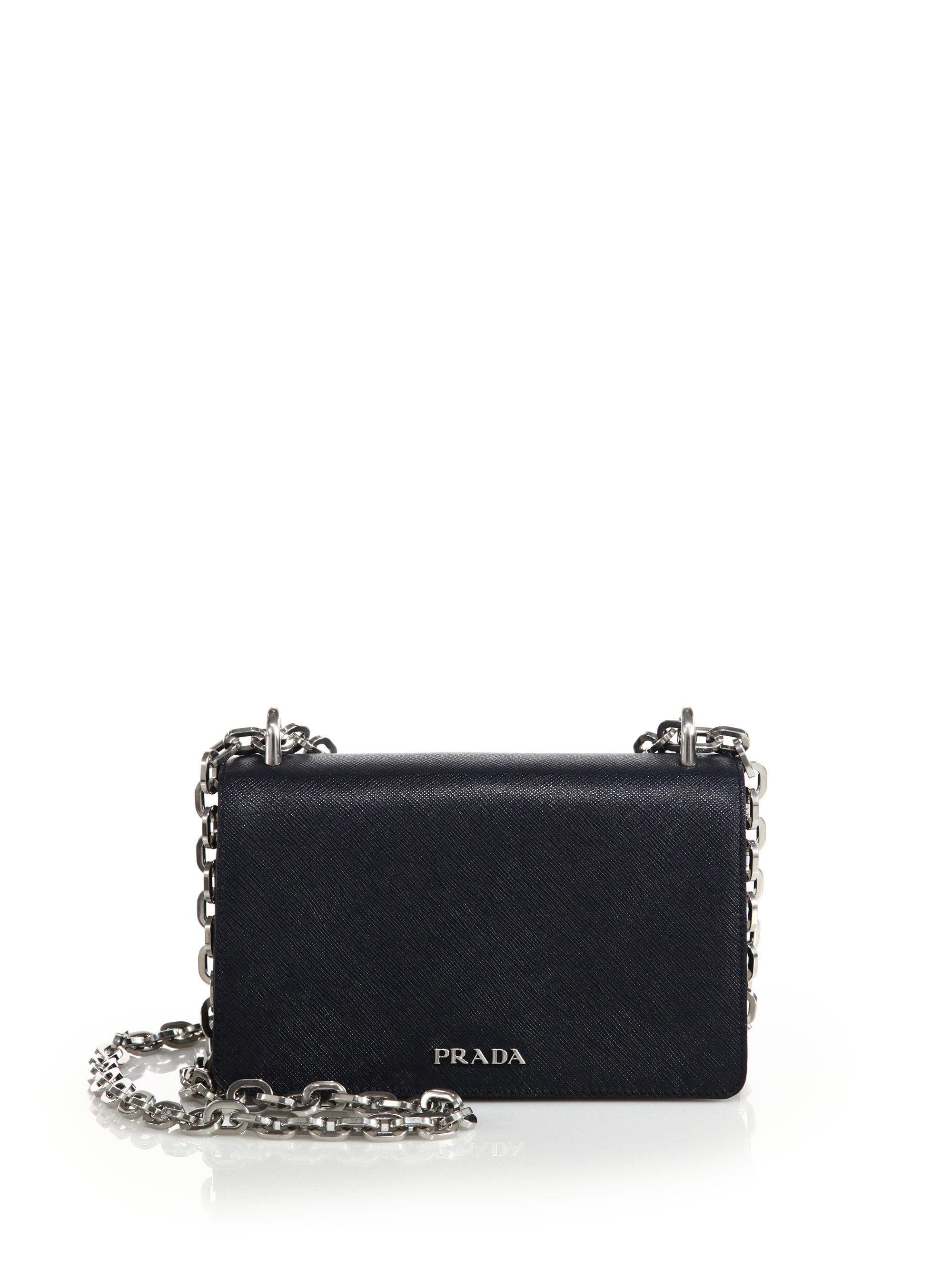 discount prada luggage - Prada Tessuto \u0026amp; Saffiano Bicolor Chain Bag in Blue | Lyst