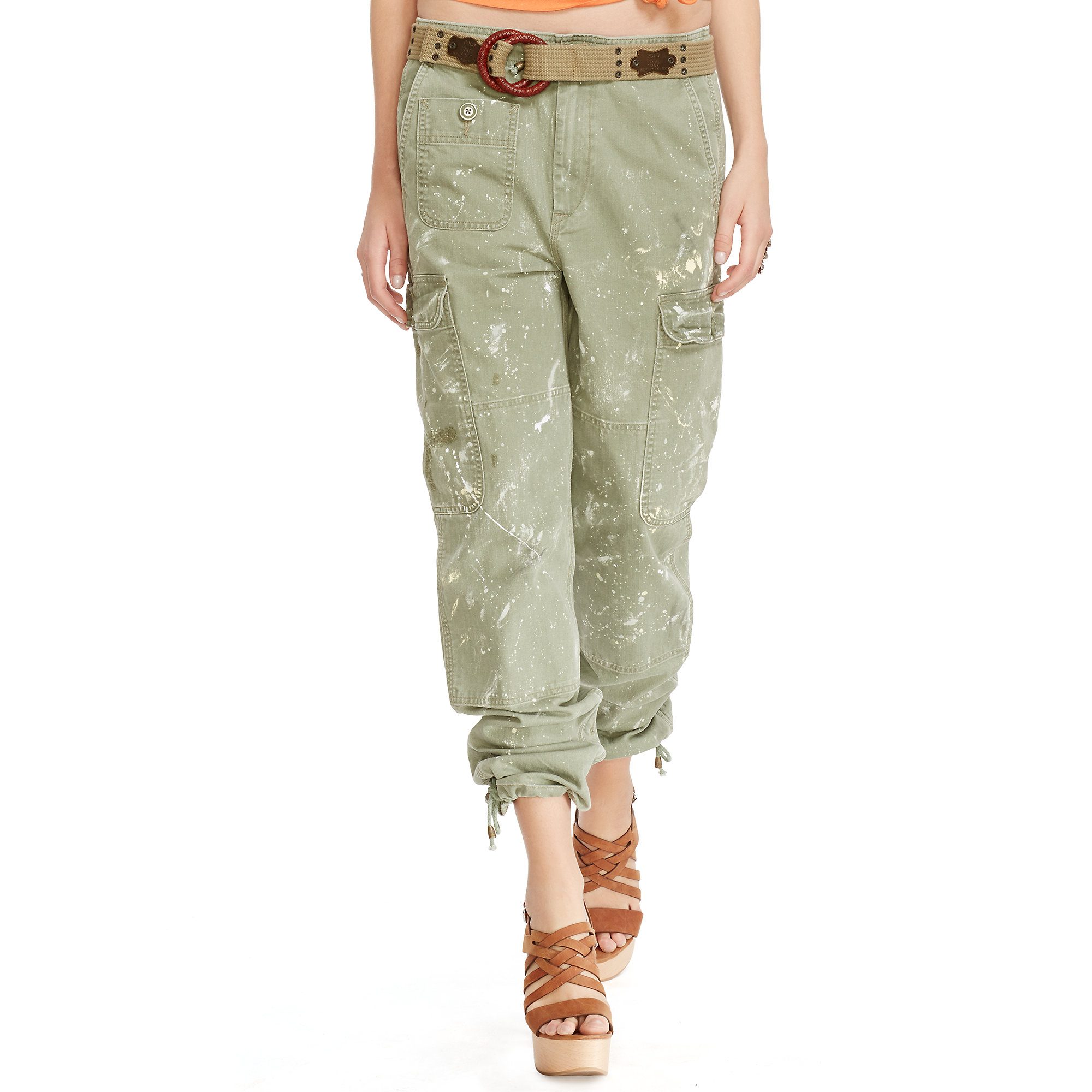 Brilliant Polo Ralph Lauren Coated Cotton Cargo Pant In Green  Lyst