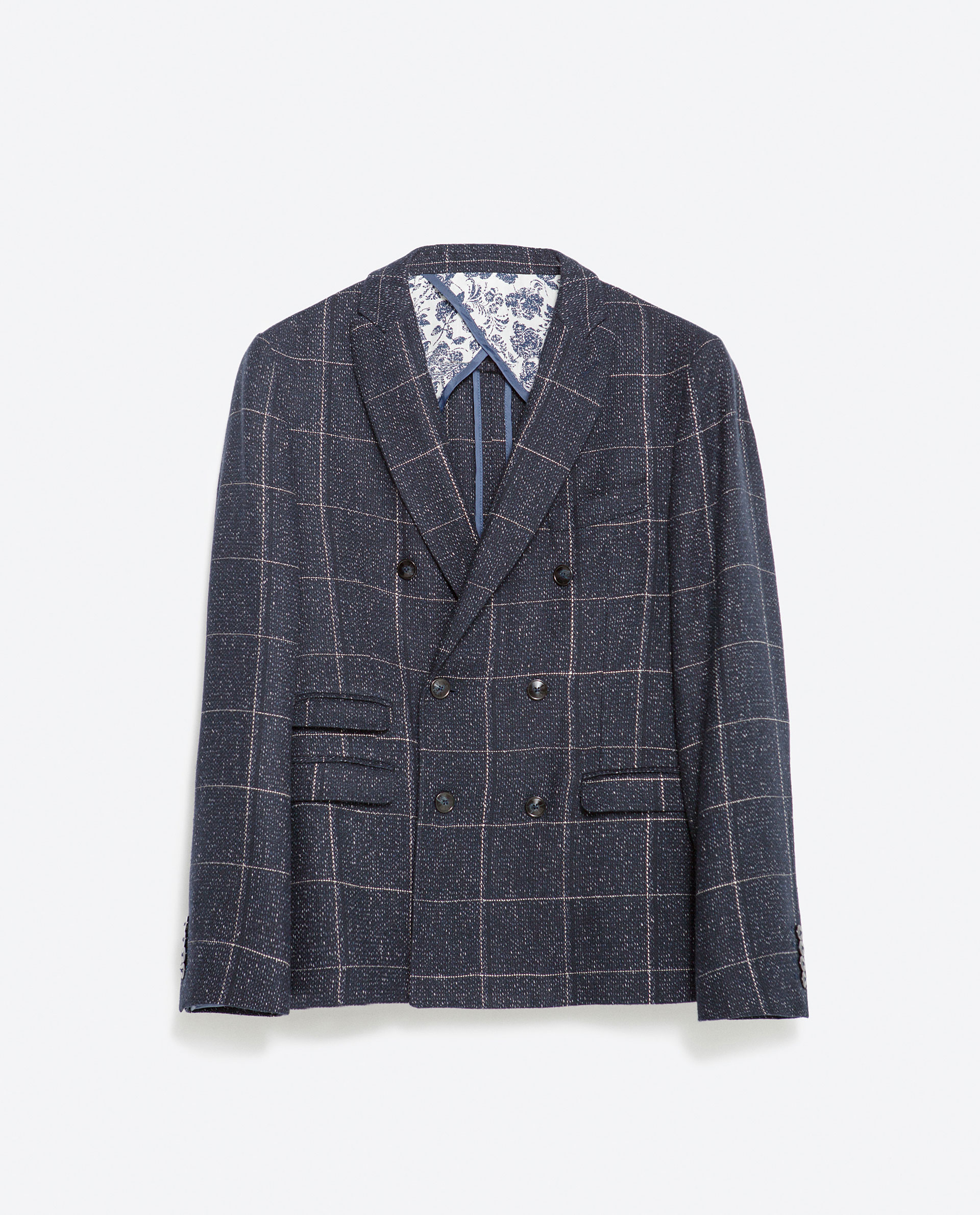 zara double breasted checked blazer in blue for men lyst. Black Bedroom Furniture Sets. Home Design Ideas