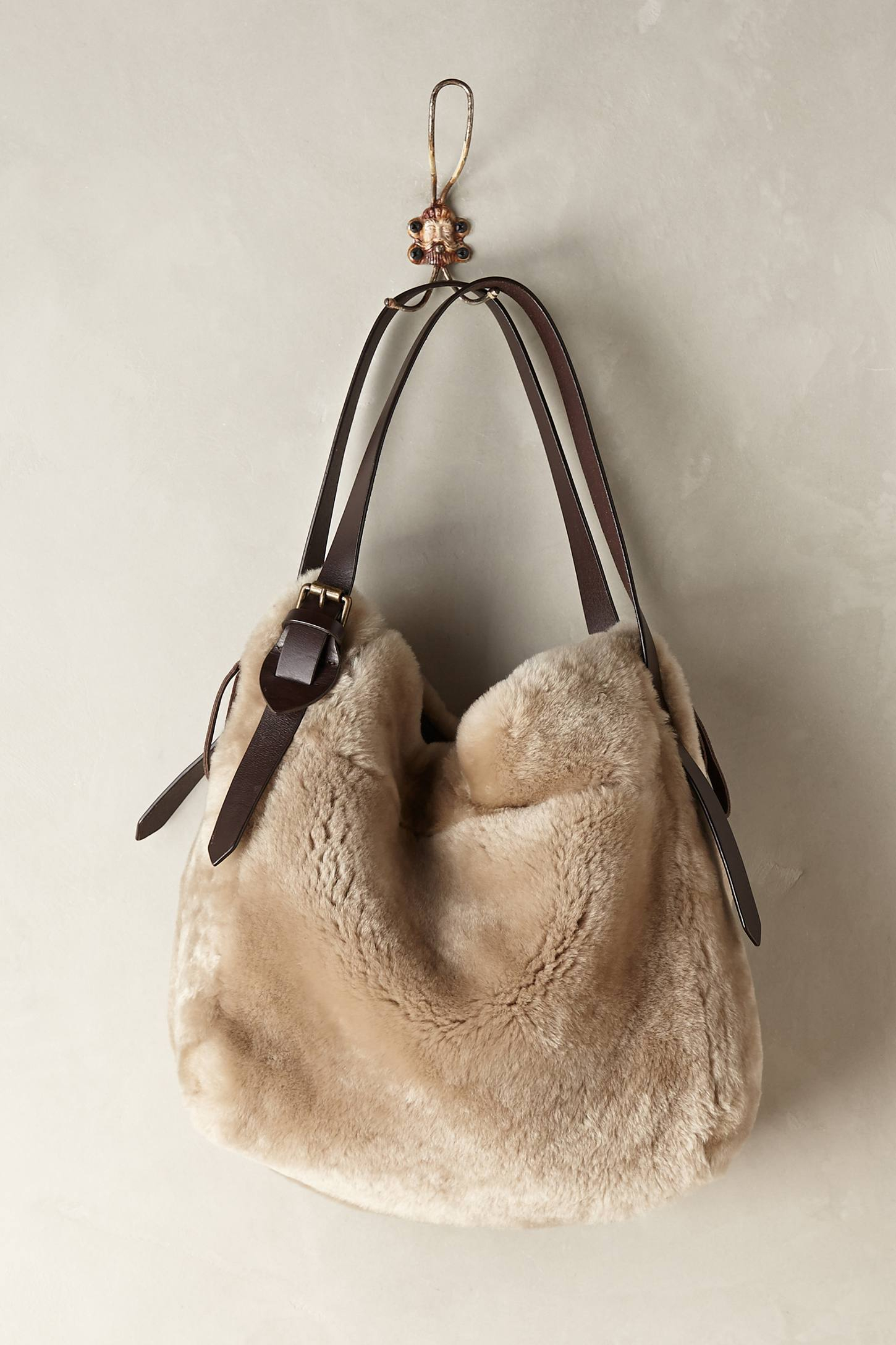 Holding horses Shearling Hobo Bag in Natural