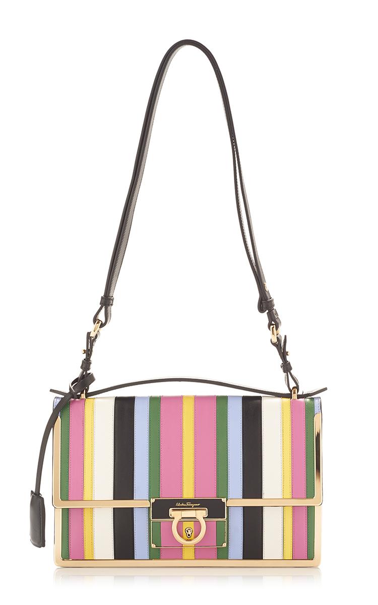Lyst - Ferragamo Rainbow Stripe Leather Aileen Shoulder Bag in Pink 5eca26e455216