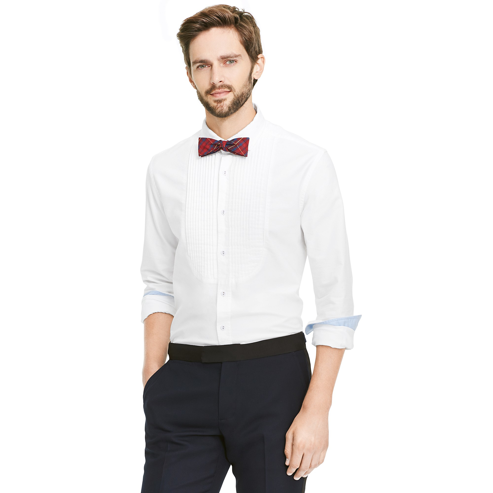Tommy Hilfiger Custom Fit Oxford Tuxedo Shirt In White For