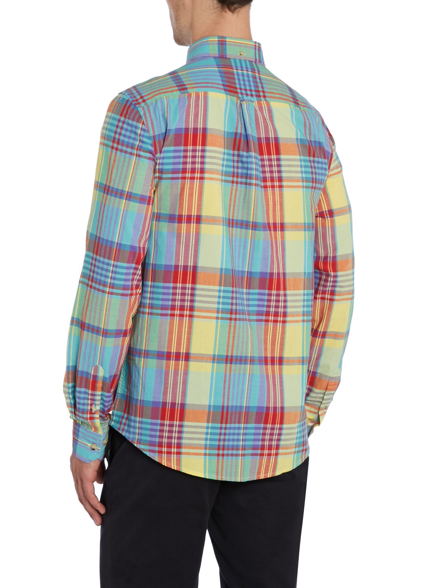 Lyst ben sherman summer check slim fit long sleeve shirt for Slim fit check shirt