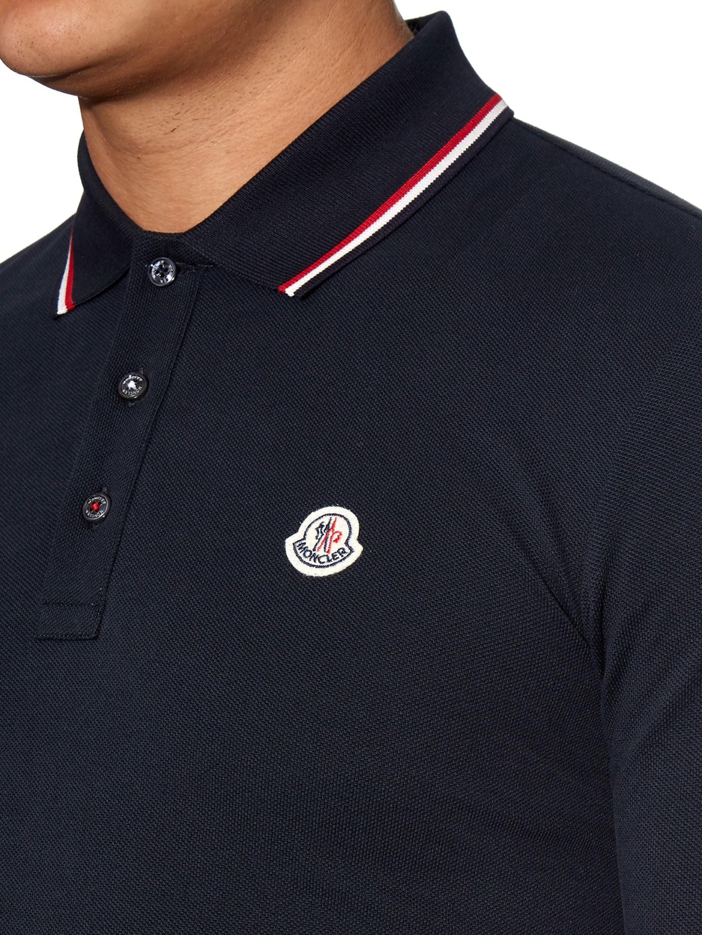 a72f5d94 Moncler Stripe-trim Cotton-piqué Polo Shirt in Blue for Men - Lyst