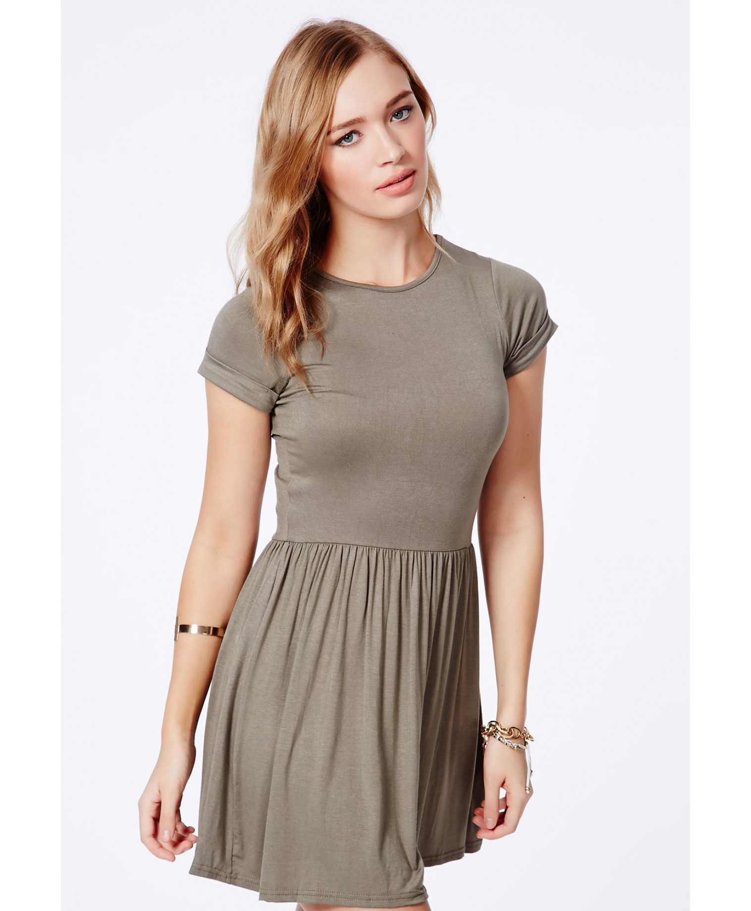 100% high quality 8379b 511ee Missguided Aliveta Value Tshirt Skater Dress  in Khaki in Gre ... 71a9fca7c4ed