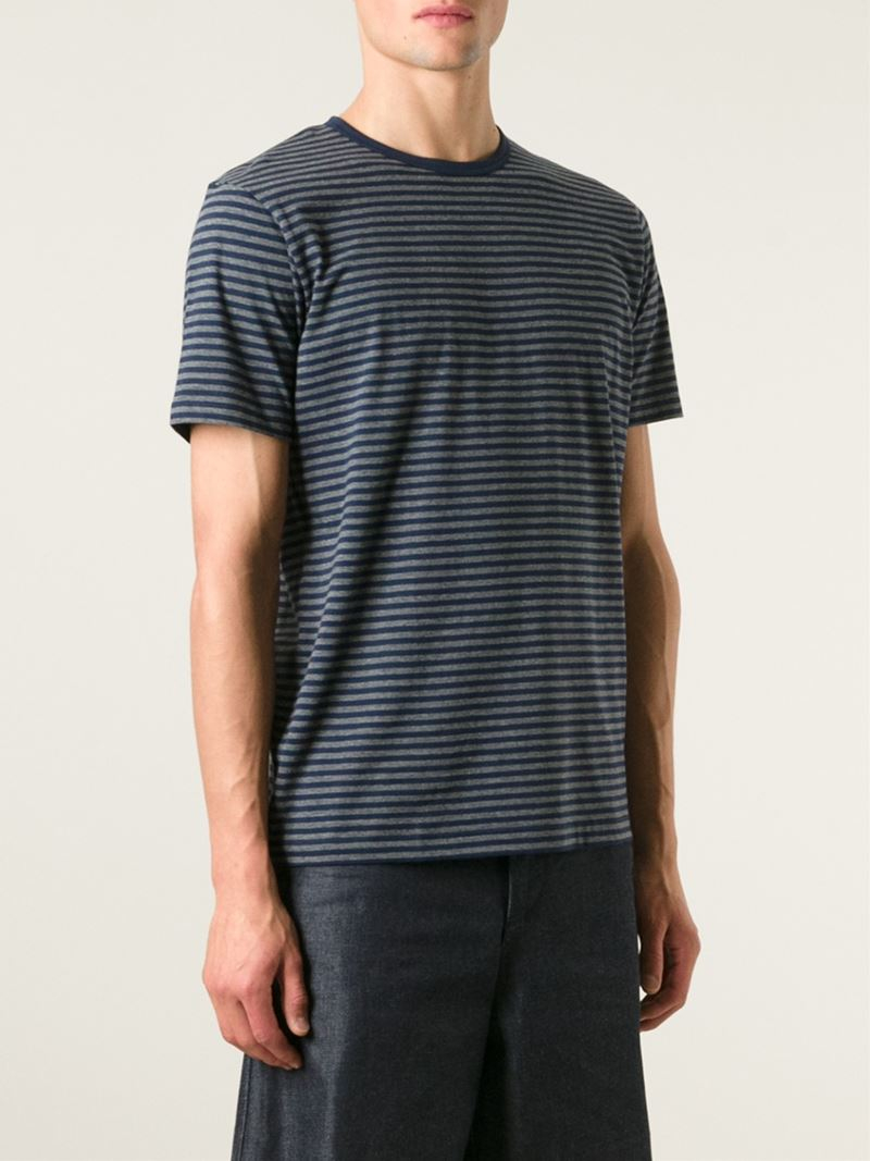 Sunspel striped t shirt in gray for men lyst for Grey striped t shirt