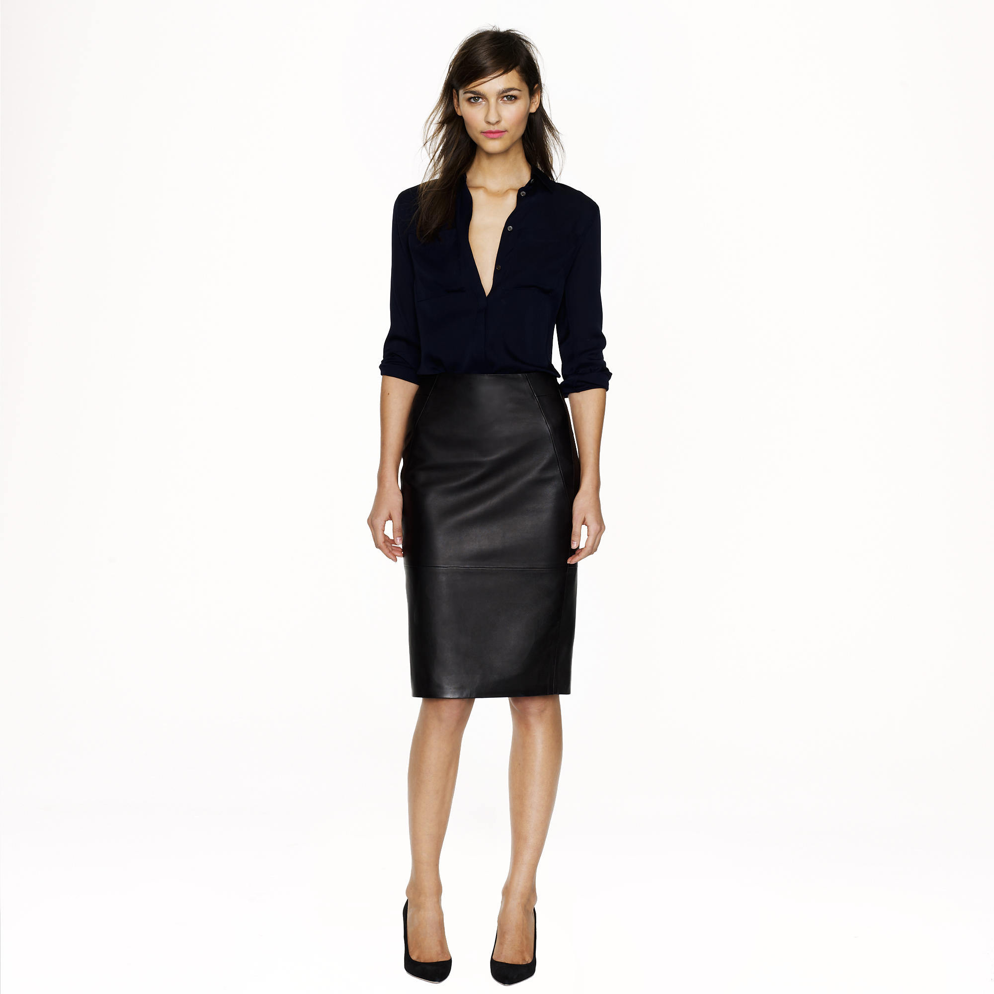 63f3fa04f8 J.Crew Collection Leather Pencil Skirt in Black - Lyst