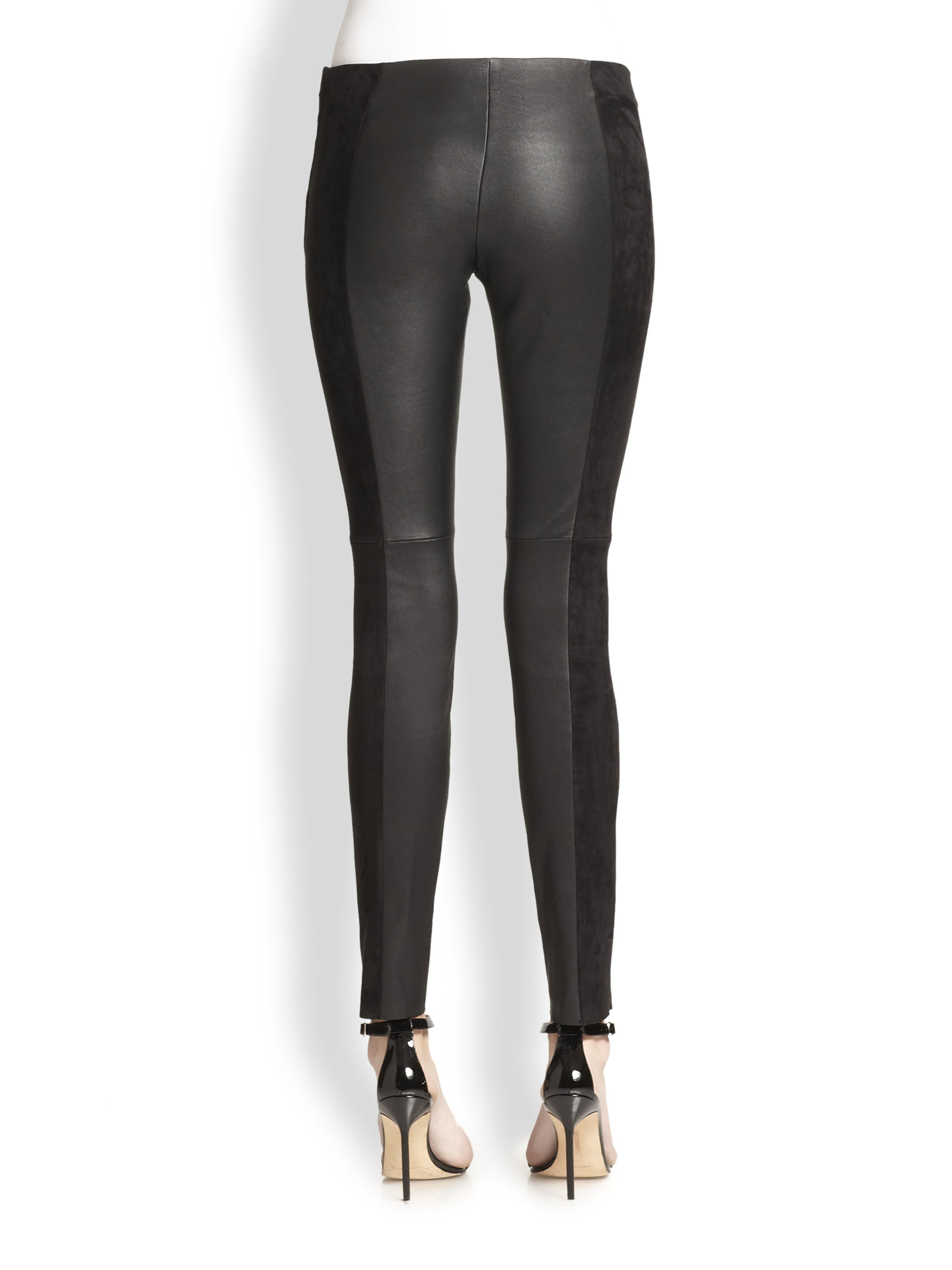 Michael kors Stretch Leather & Suede Leggings in Black | Lyst