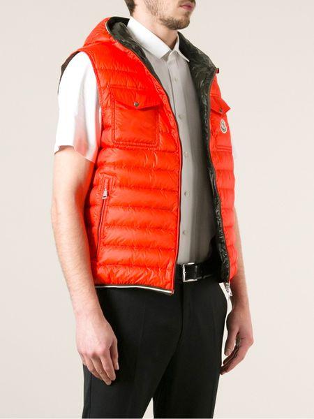 Moncler Gers Sleeveless New Down Hoodie In Orange For Men