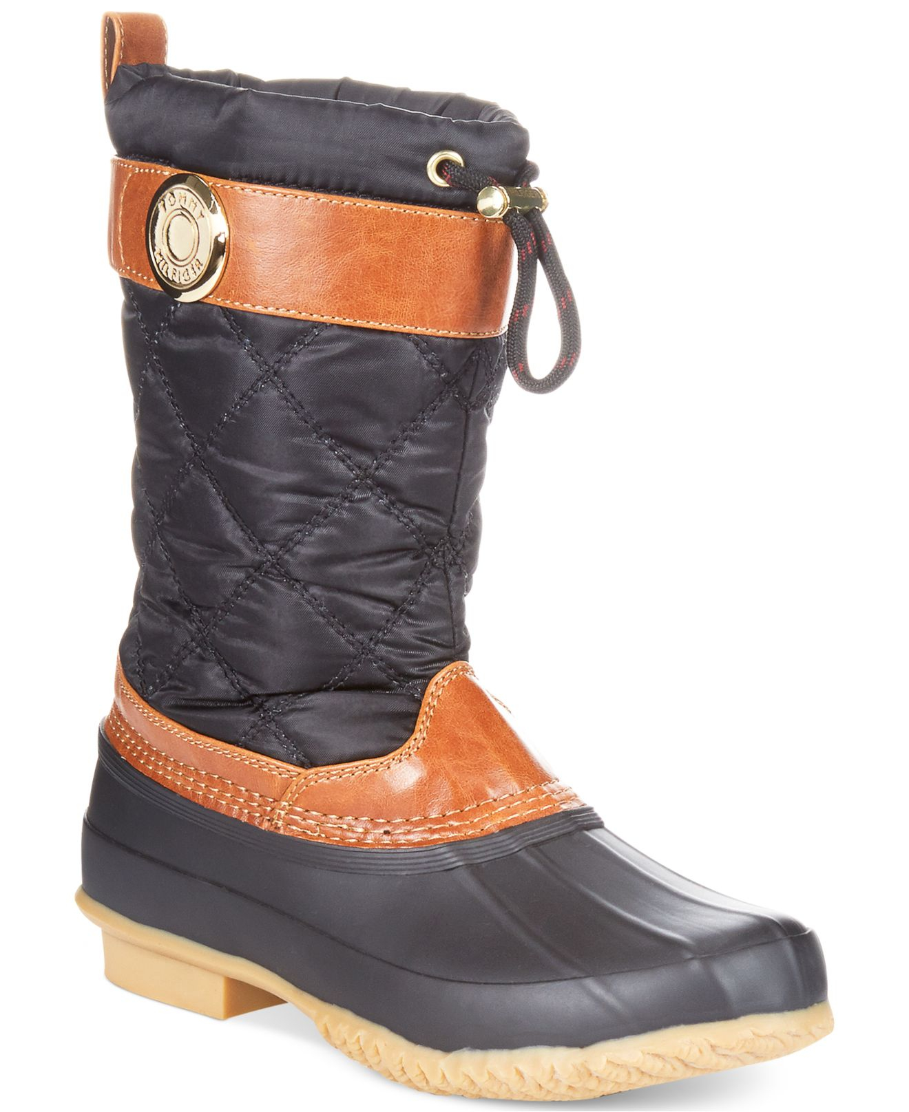 lyst tommy hilfiger women 39 s arcadia duck boots in black. Black Bedroom Furniture Sets. Home Design Ideas