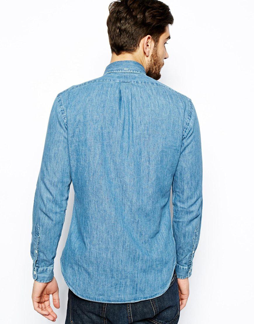 c0aeab680815 Polo Ralph Lauren Shirt In Dark Wash Denim Slim Fit