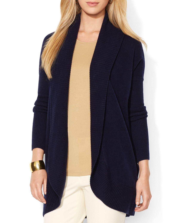 Ralph lauren Lauren Open Front Cashmere Sweater in Blue | Lyst