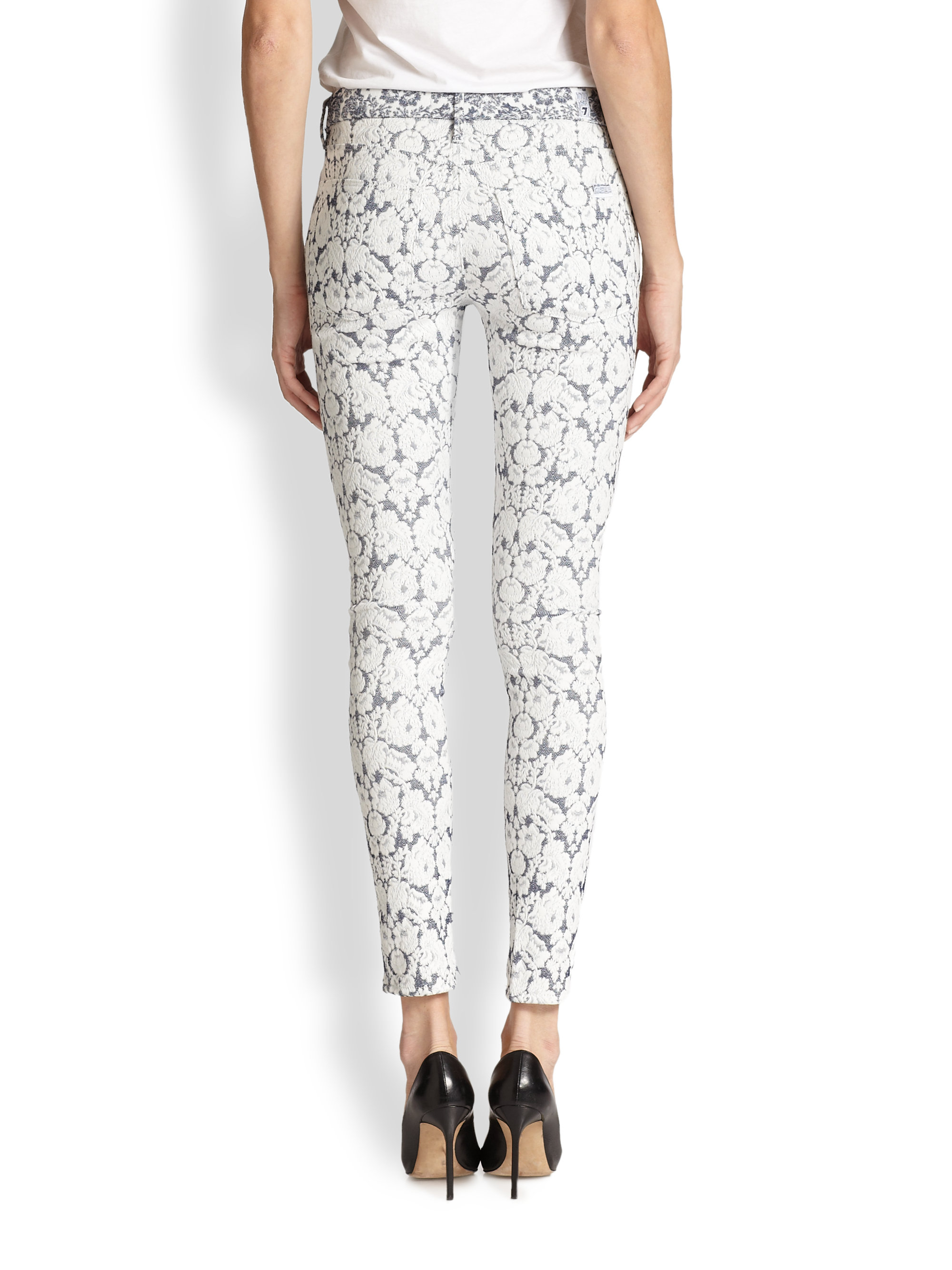 7 for all mankind Tailor Floral Jacquard Skinny Ankle Jeans in ...