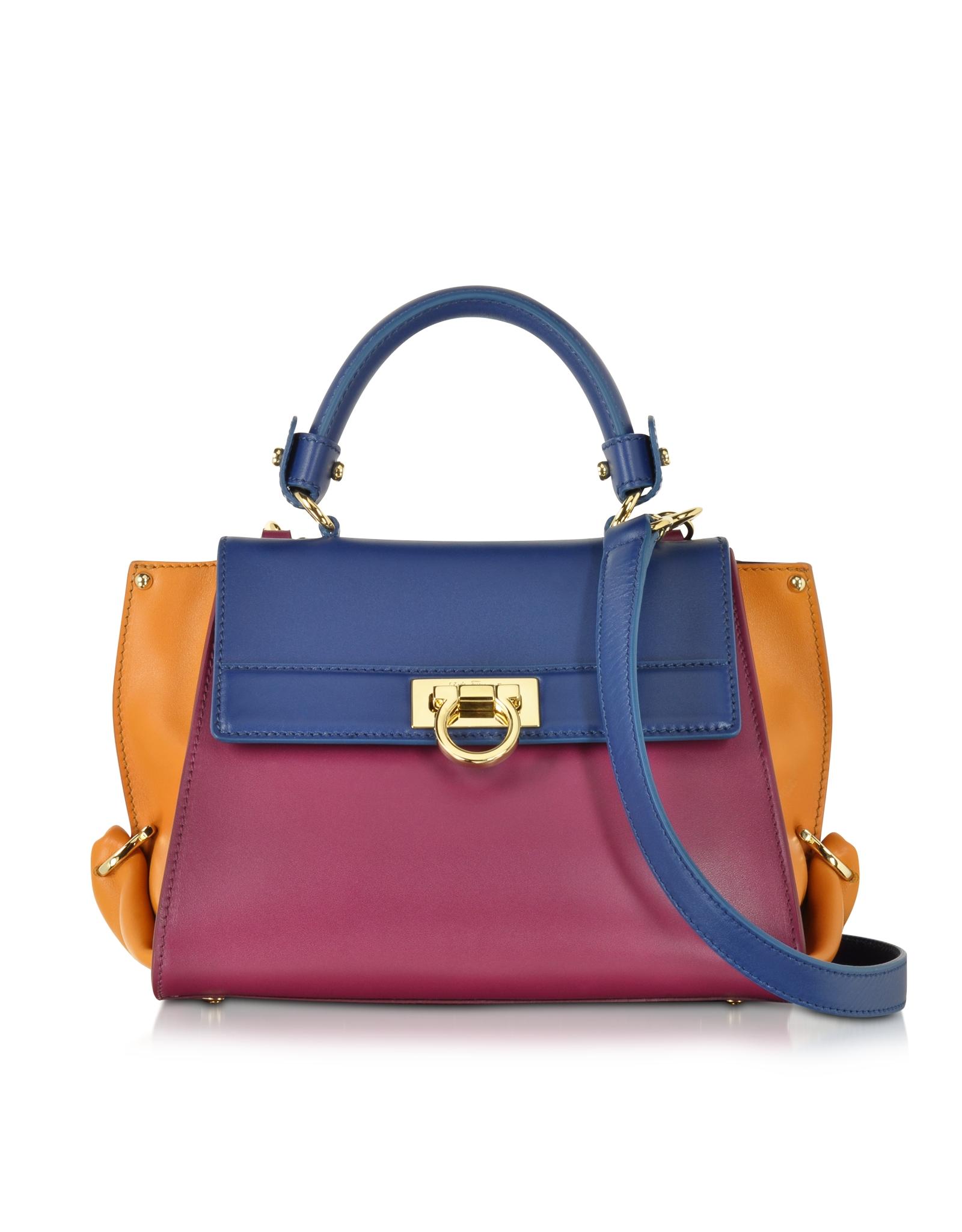 Ferragamo Small Sofia Color Block Leather Shoulder Bag in Metallic ... 04599771b76af