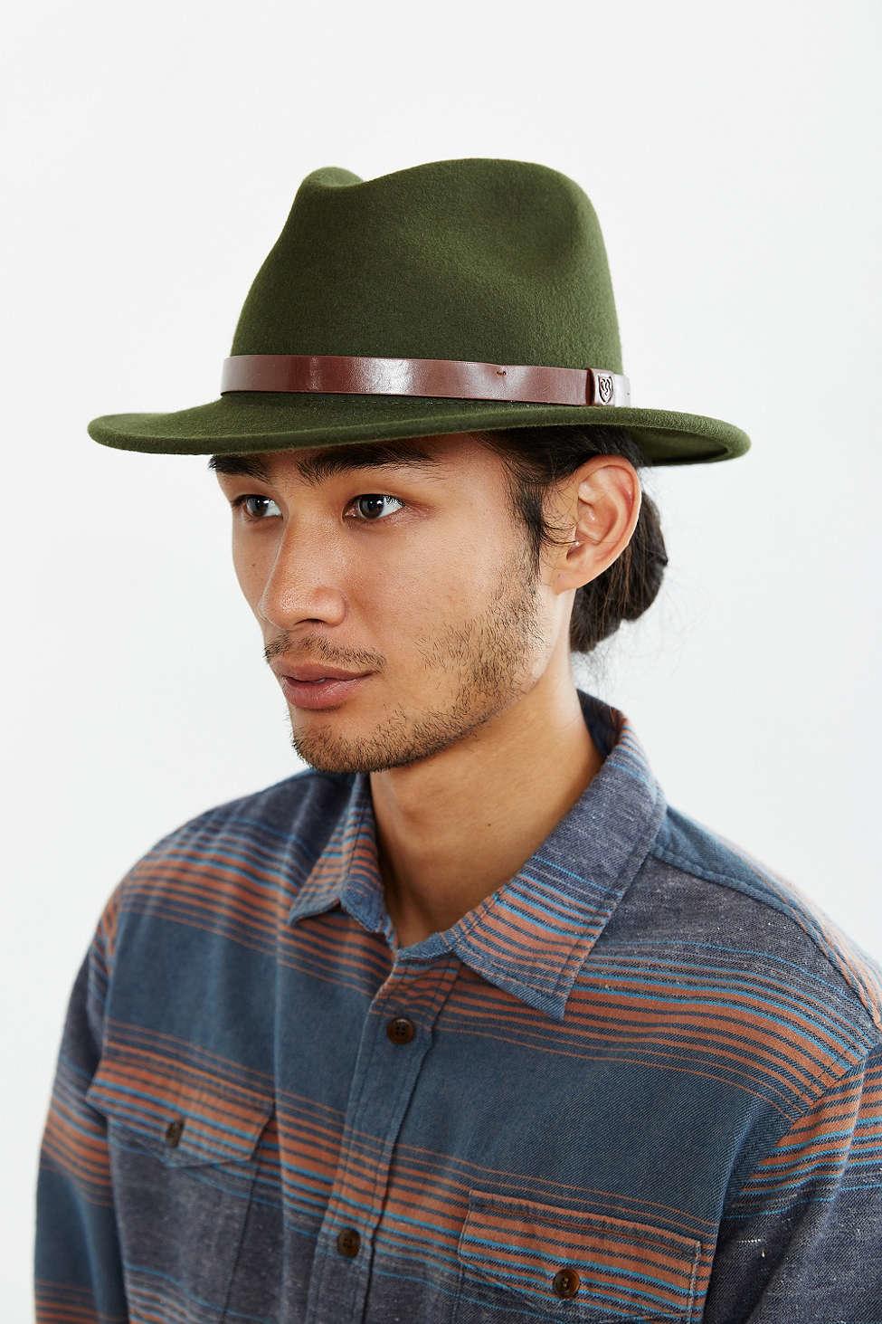 d82ac18349e Lyst - Brixton Messer Fedora Hat in Green for Men