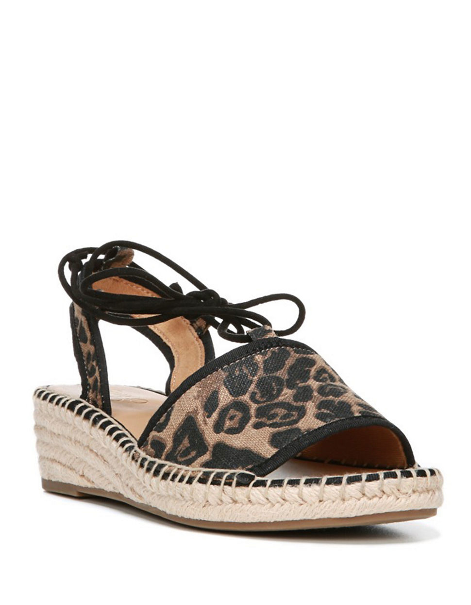 franco sarto liona leopard print wedge sandals in brown lyst