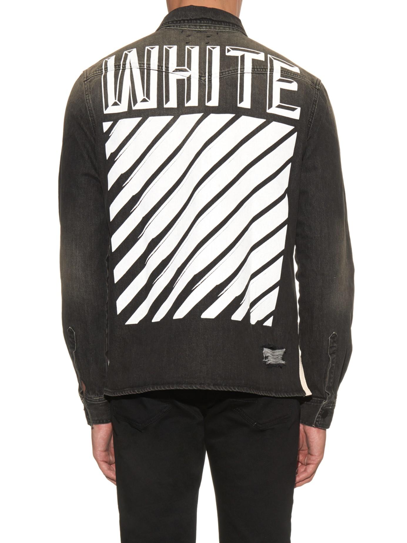 Off-white c/o virgil abloh Printed Denim Shirt in Black for Men | Lyst