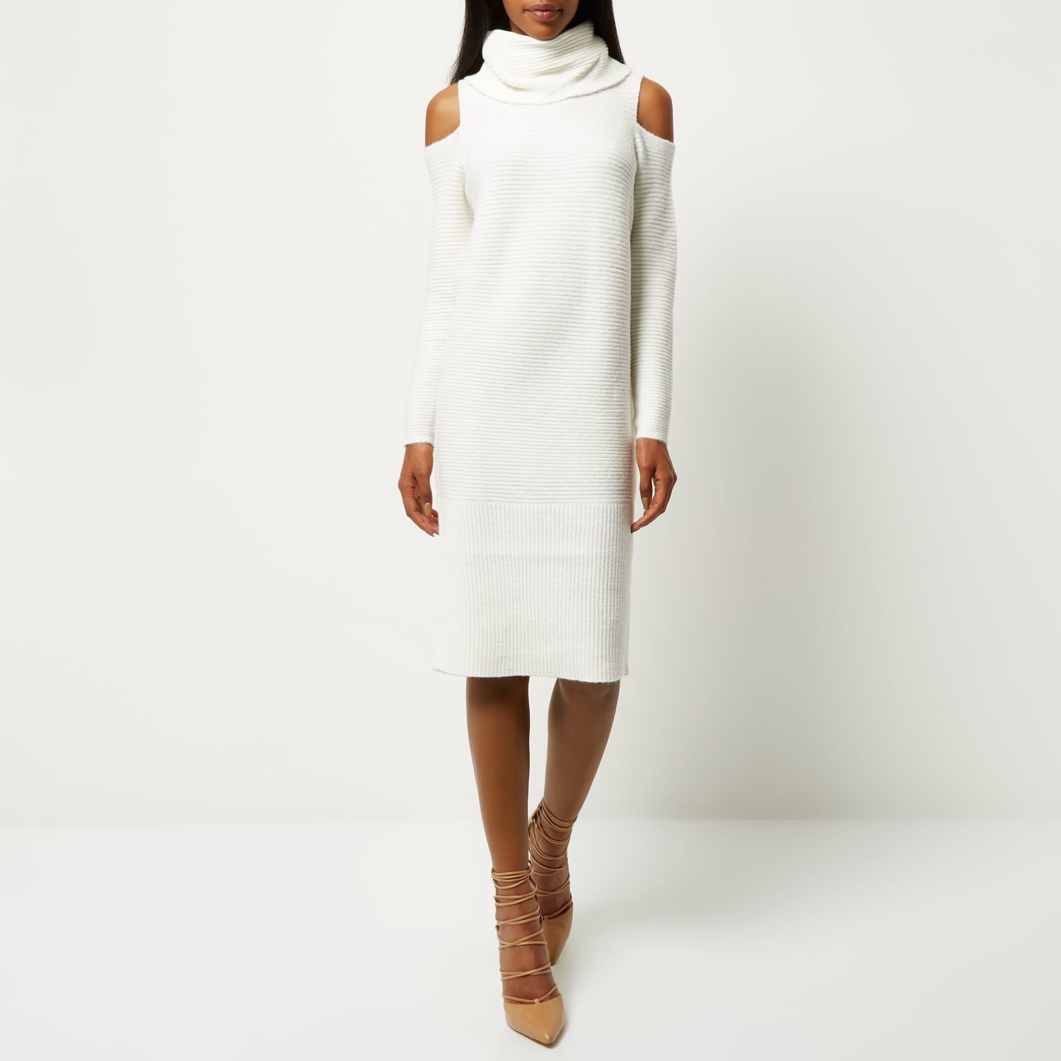 86b638642c6 River Island Cream Knitted Cold Shoulder Jumper Dress in Natural - Lyst