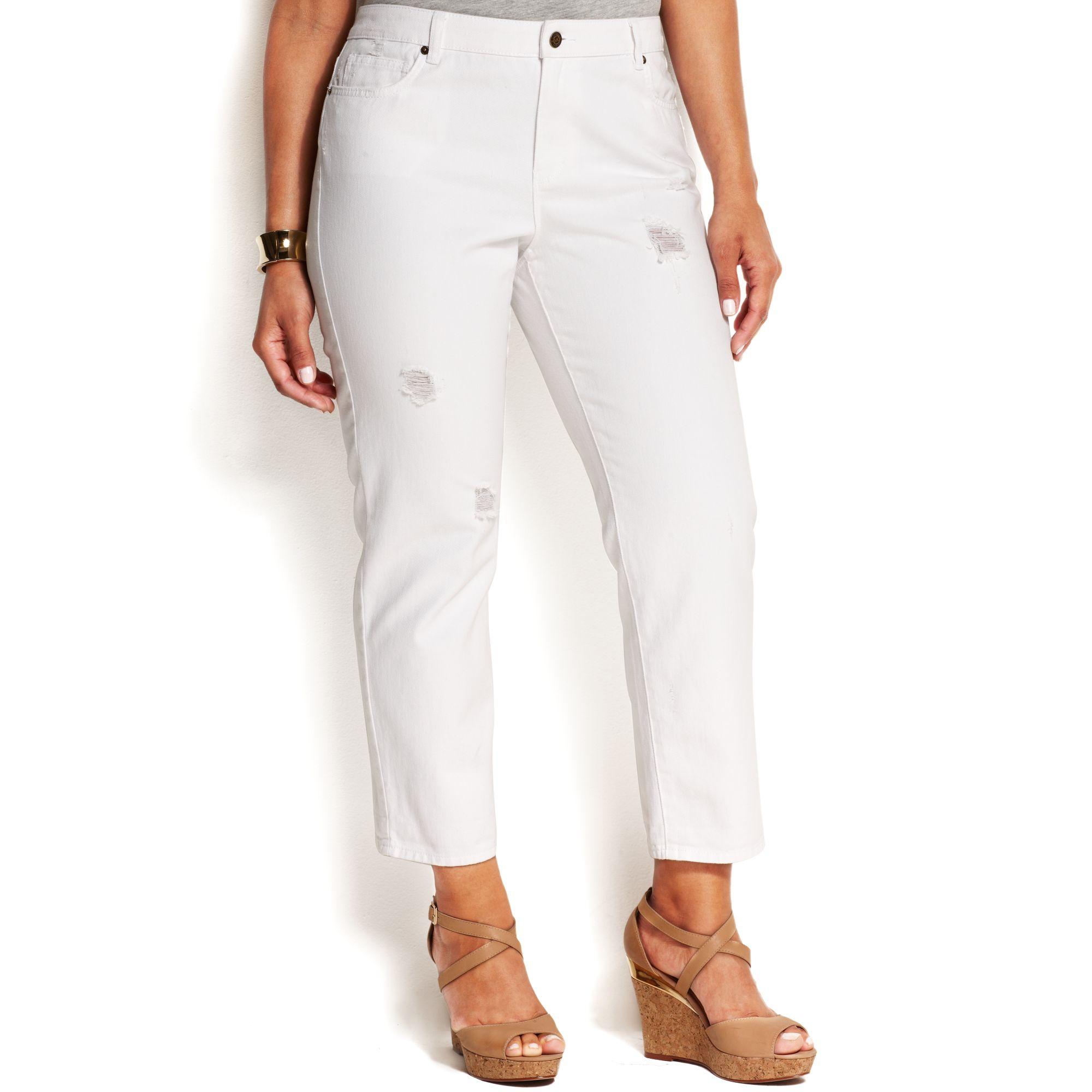 a88eead1577 Lyst - Michael Kors Michael Plus Size Cropped Boyfriend Jeans in White