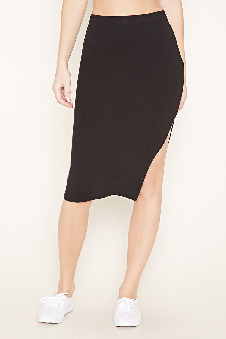 Forever 21 Side-slit Pencil Skirt in Black | Lyst