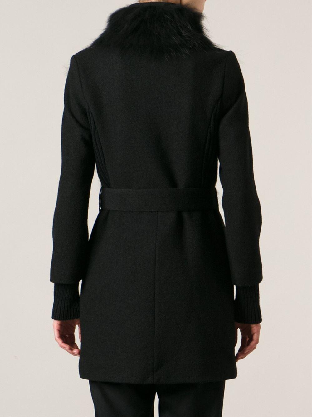 e2ac3057b9 Pinko Fur Neckline Belted Coat in Black - Lyst